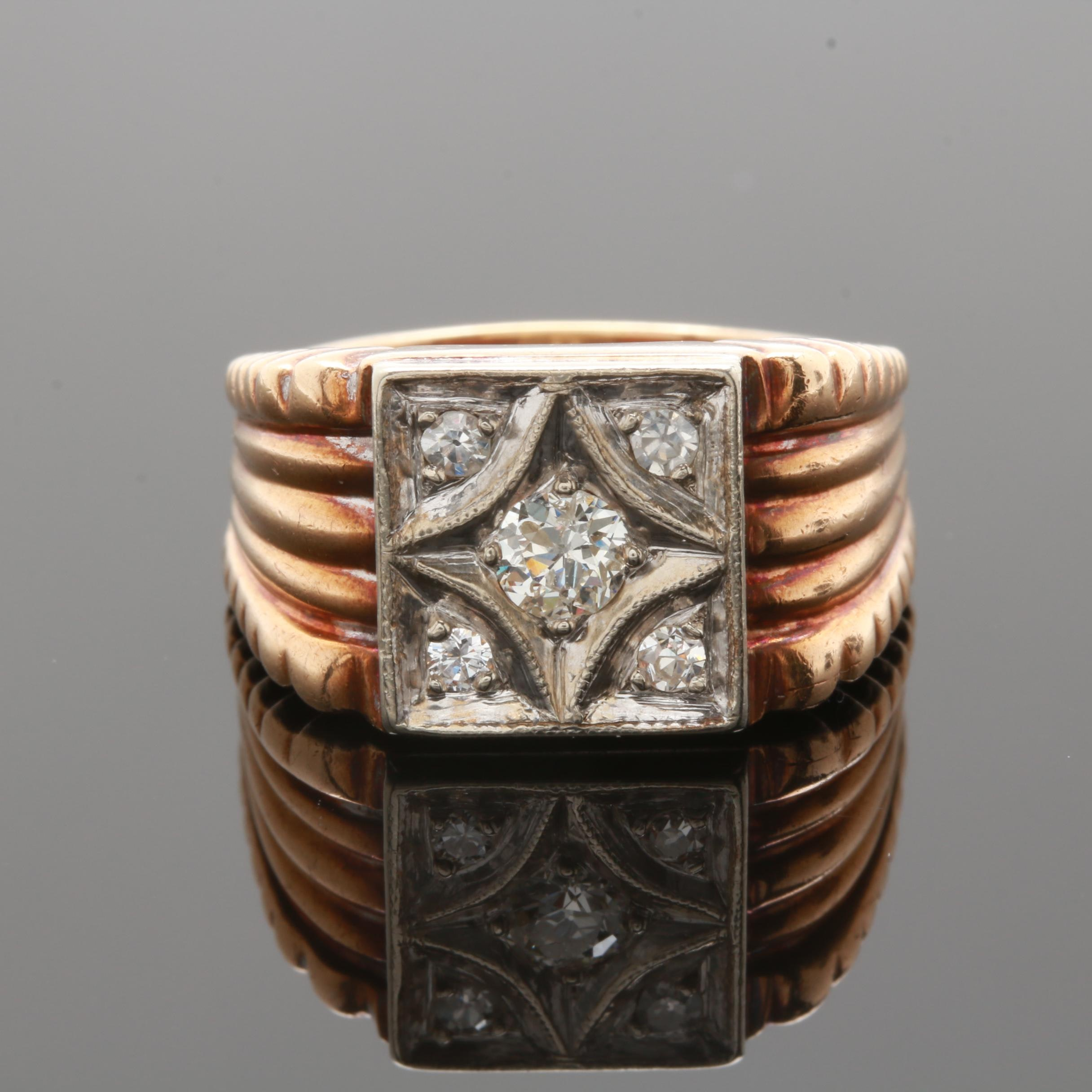Circa 1900-1910 10K Yellow Gold Diamond Ring with 10K White Gold Accents