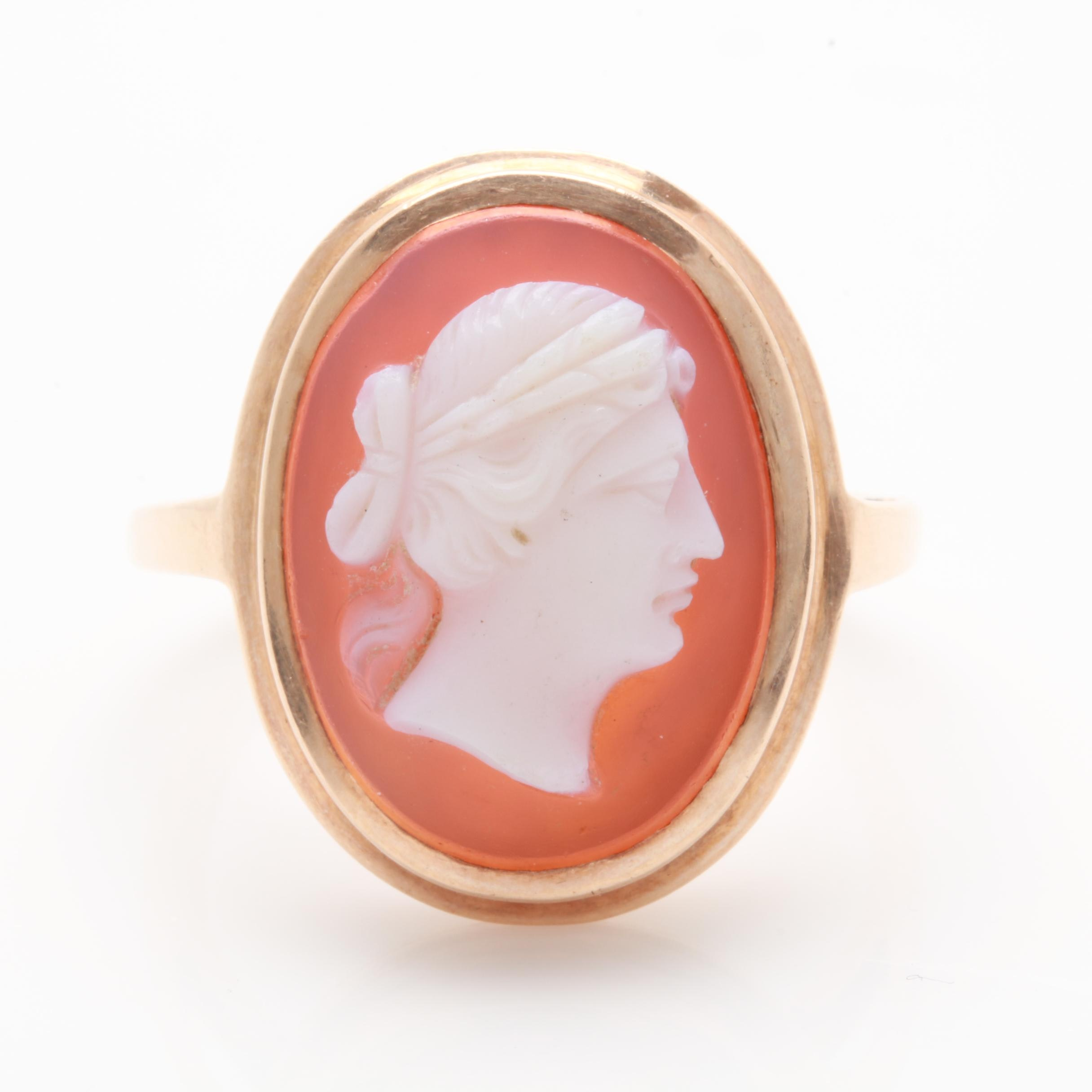 10K Rose Gold Agate and Sardonyx Cameo Ring