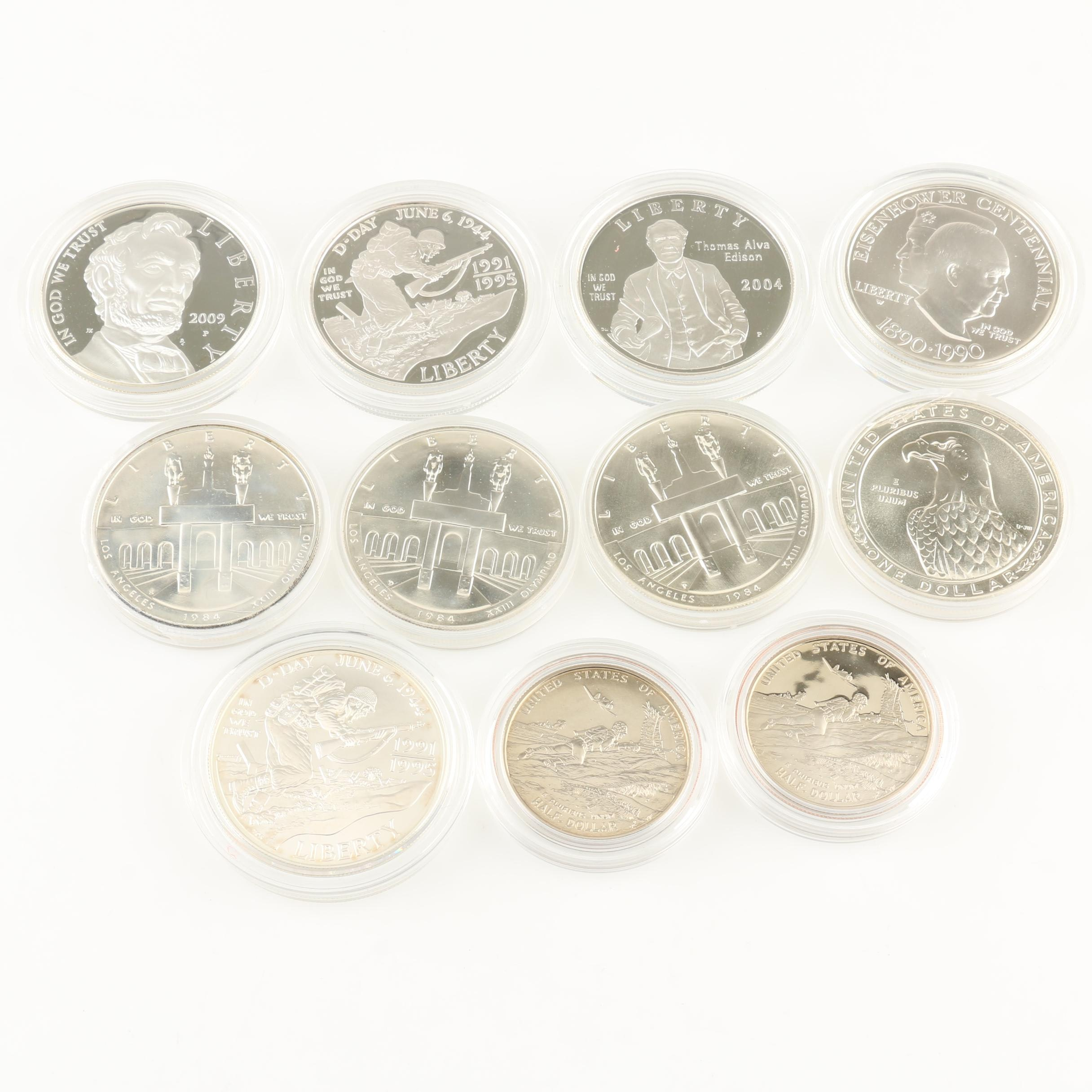 Seven U.S. Mint Modern Commemorative Silver Coin Sets