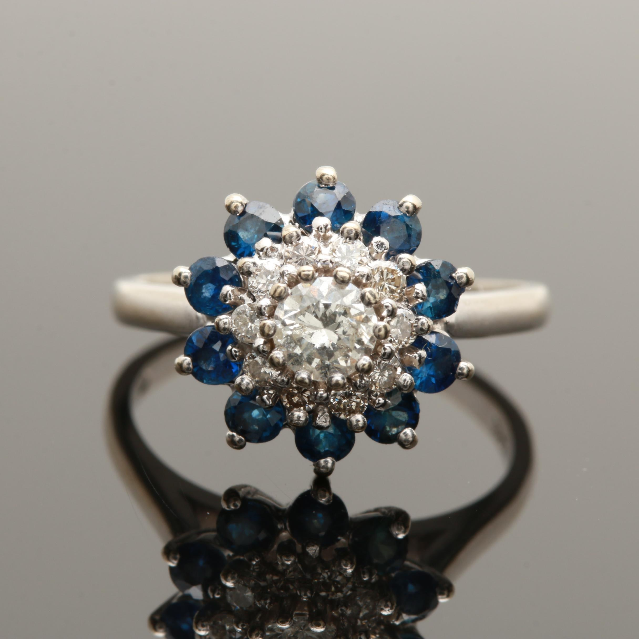 14K White Gold Diamond and Blue Sapphire Floral Ring