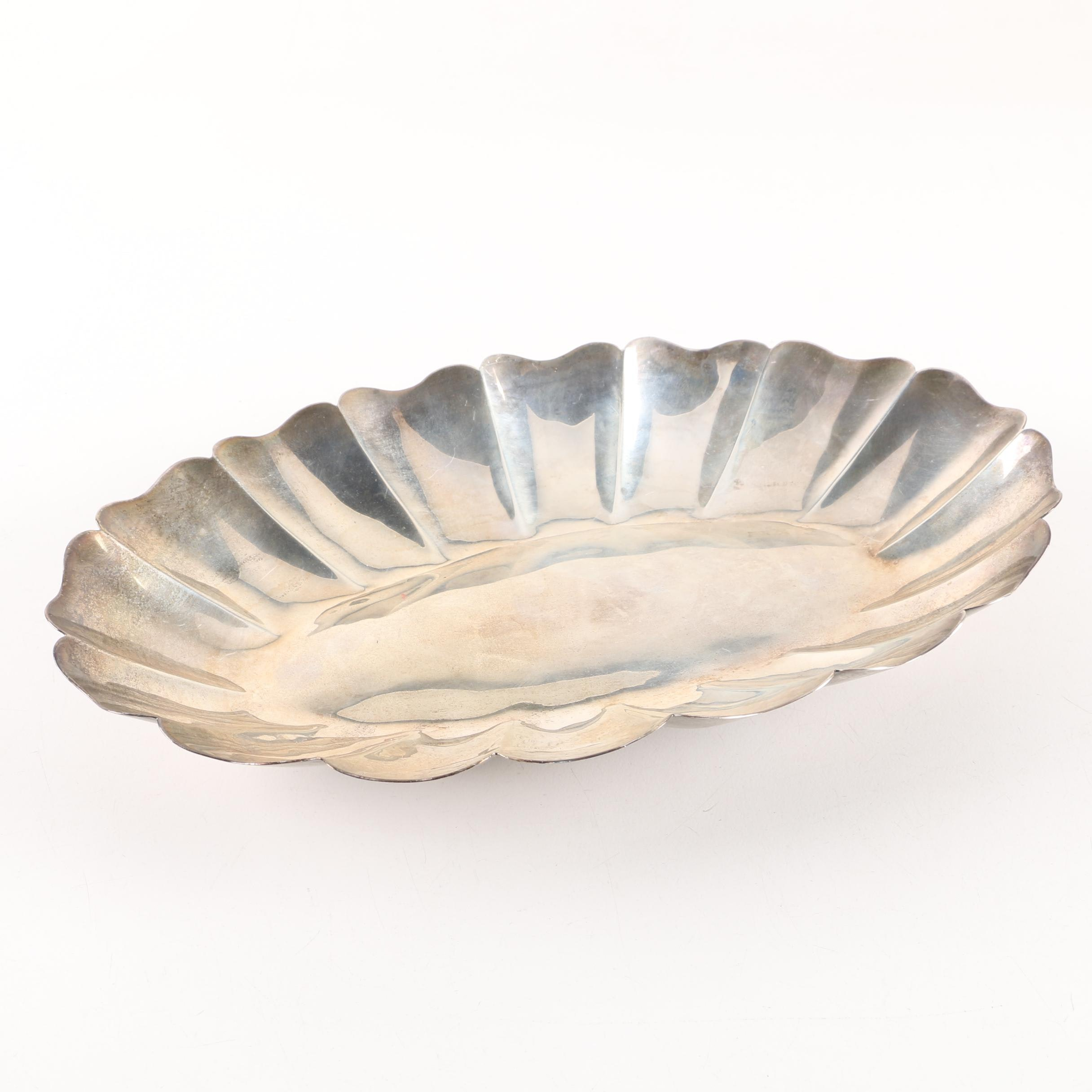 Mexican Sterling Silver Scalloped Dish