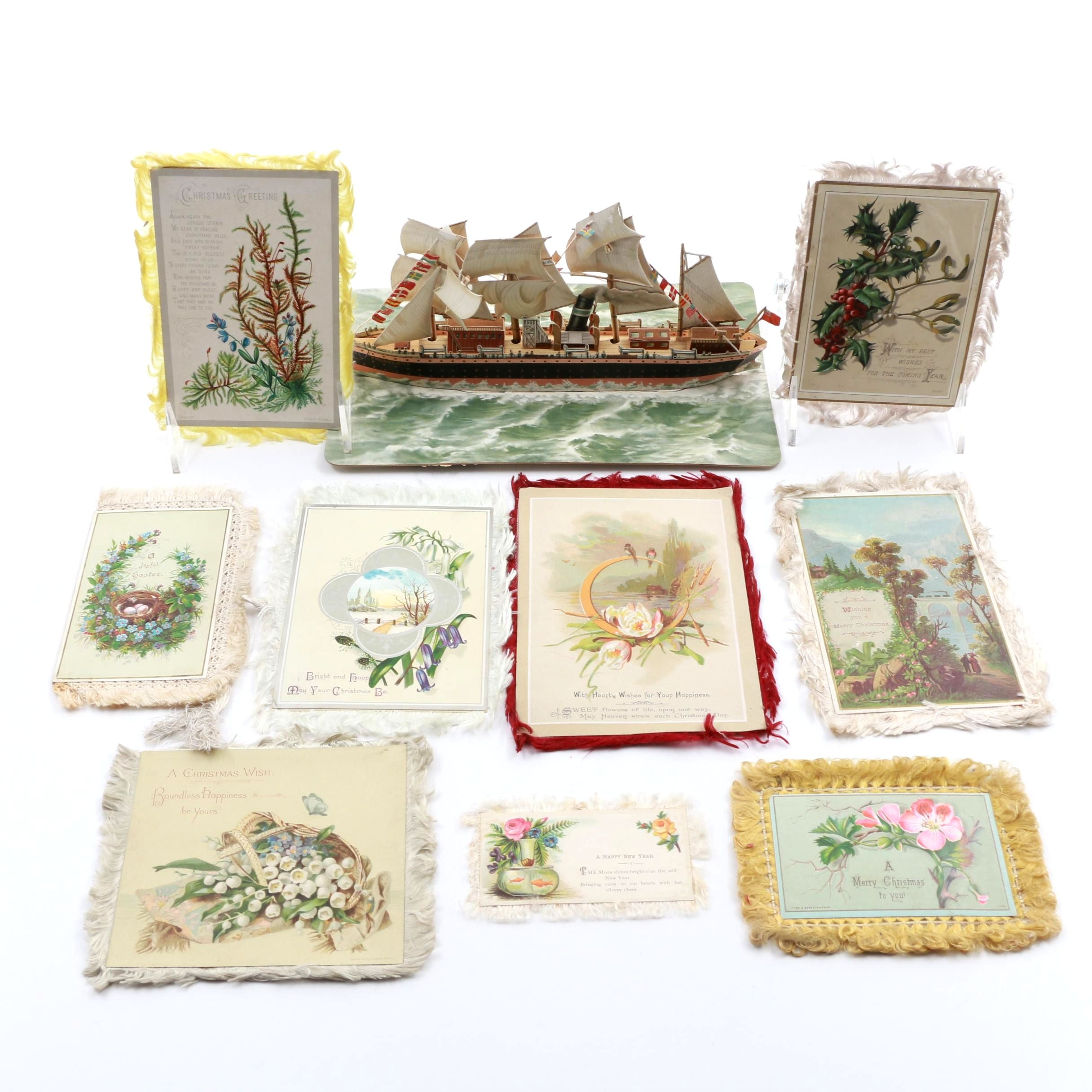 Victorian Era Greeting Cards with Pop-Up Paper Steamer Ship