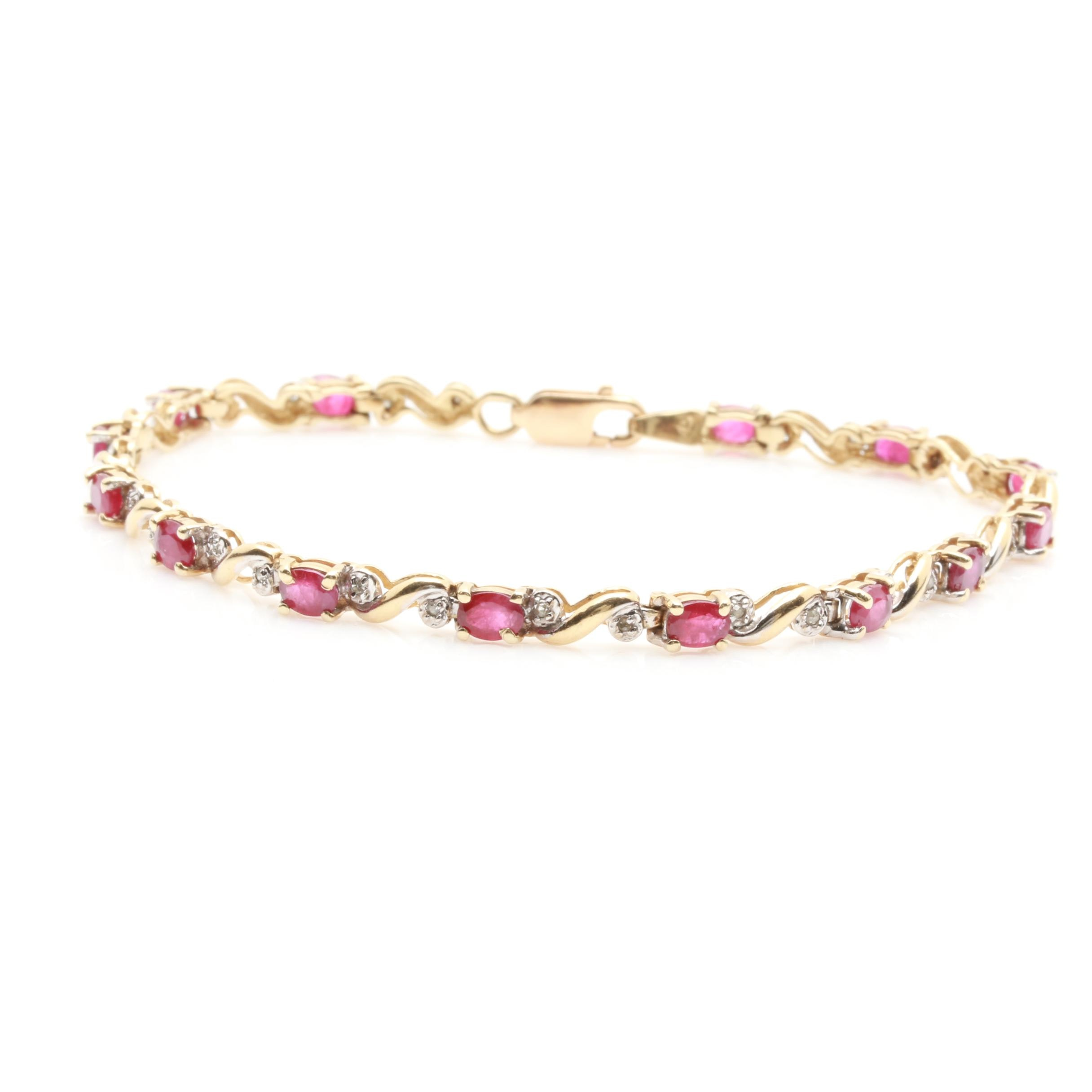 10K Yellow Gold Ruby and Diamond Link Bracelet