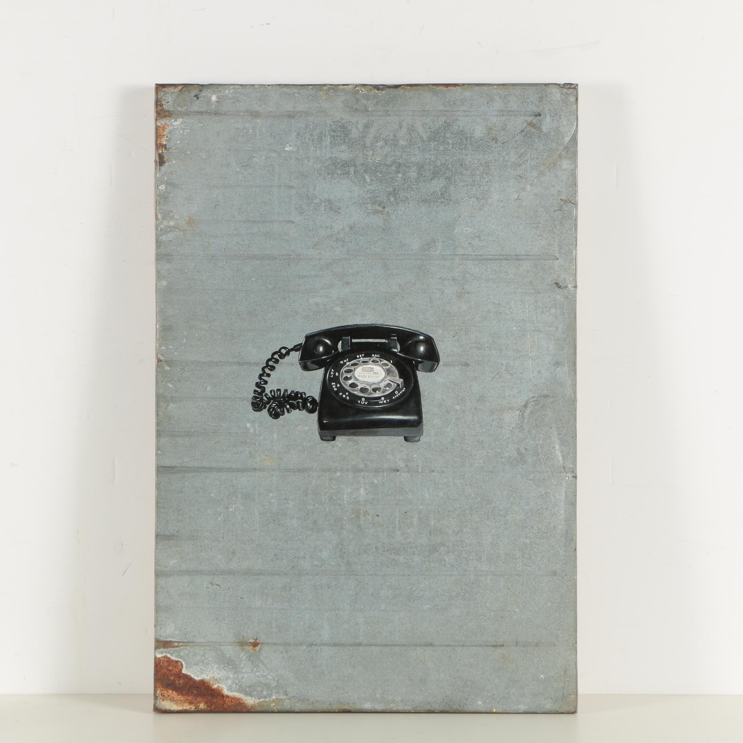"""Michael Fitts Oil Painting """"Black Phone"""""""