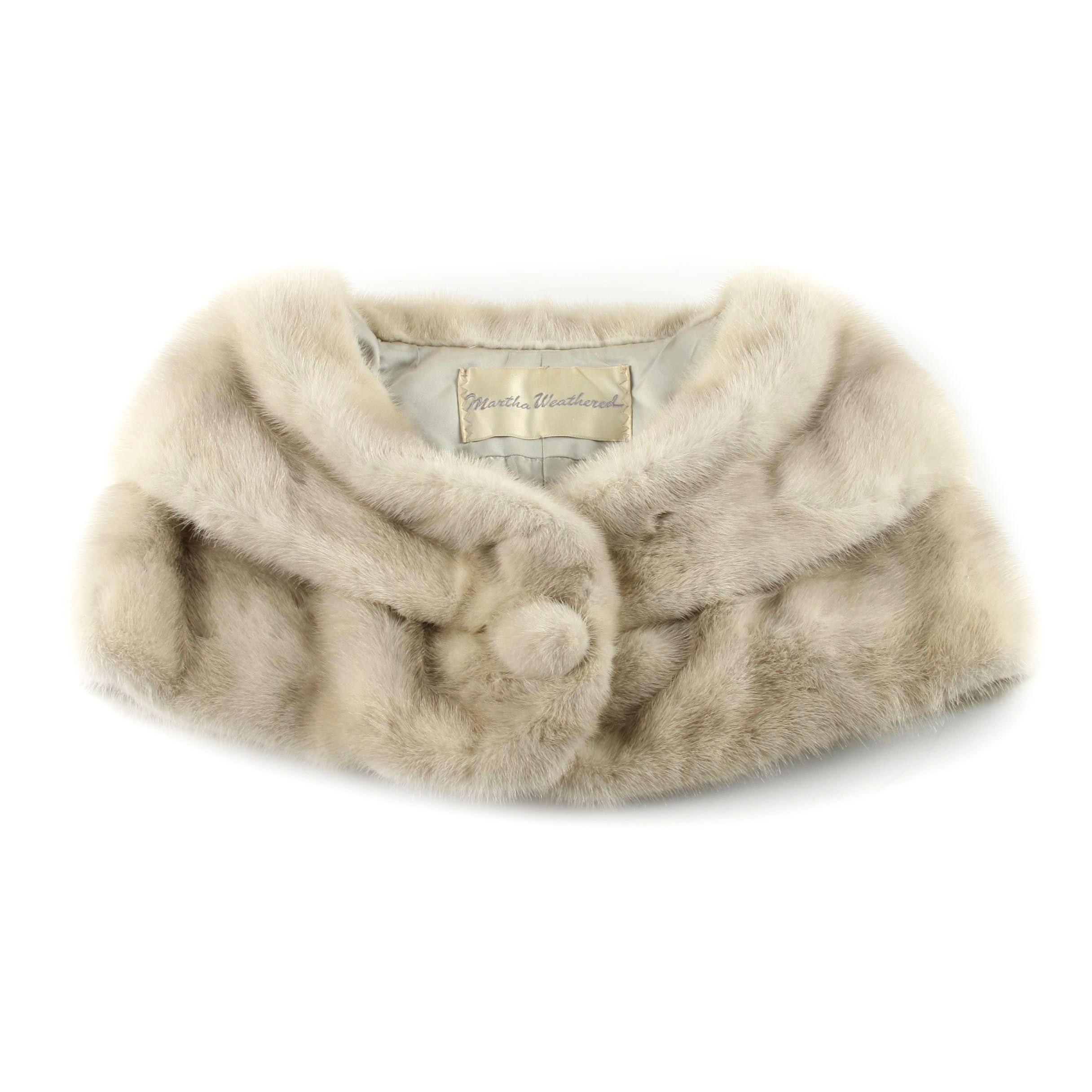 Vintage Martha Weathered Silver Mink Fur Shrug Capelet