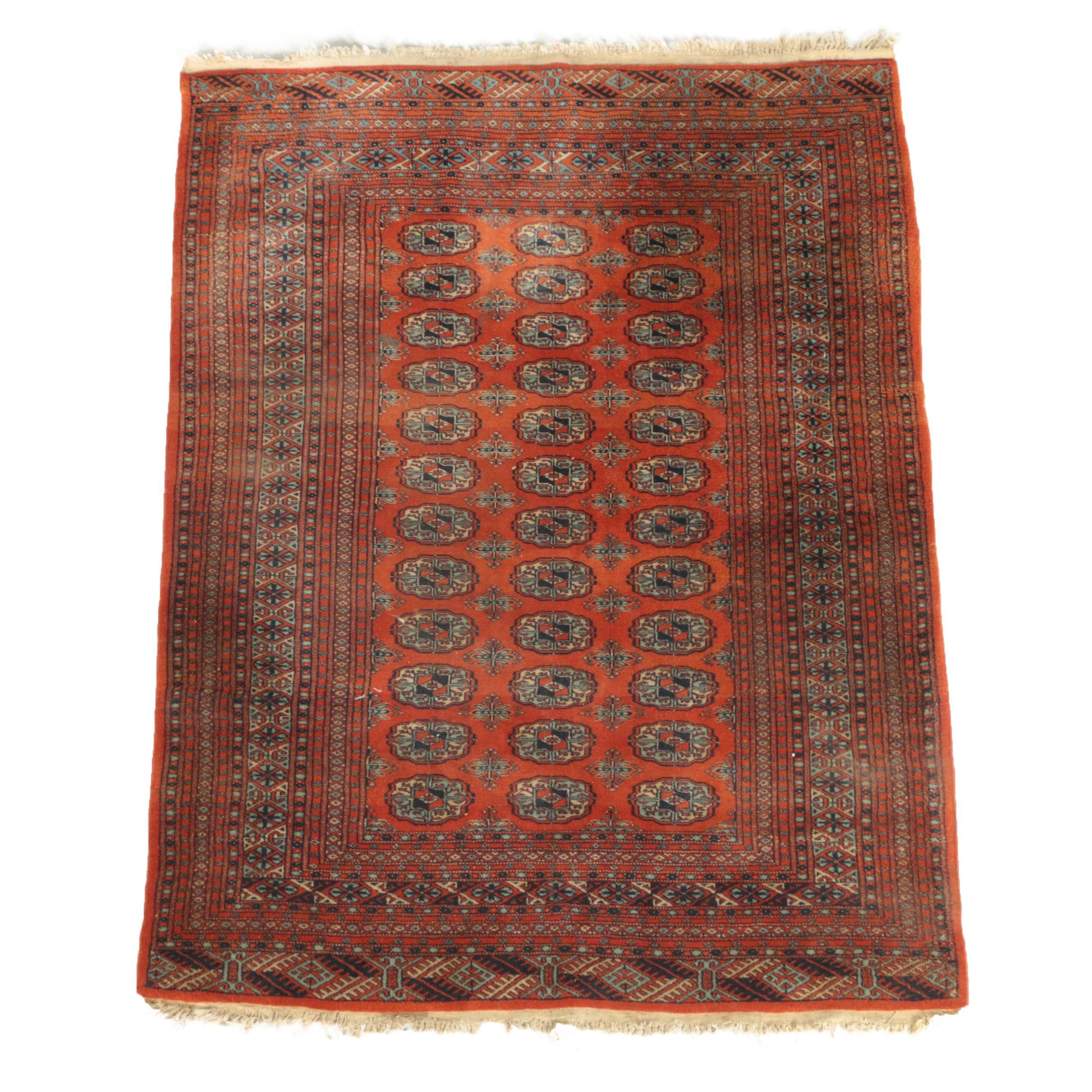 Vintage Hand-Knotted Pakistani Bokhara Area Rug