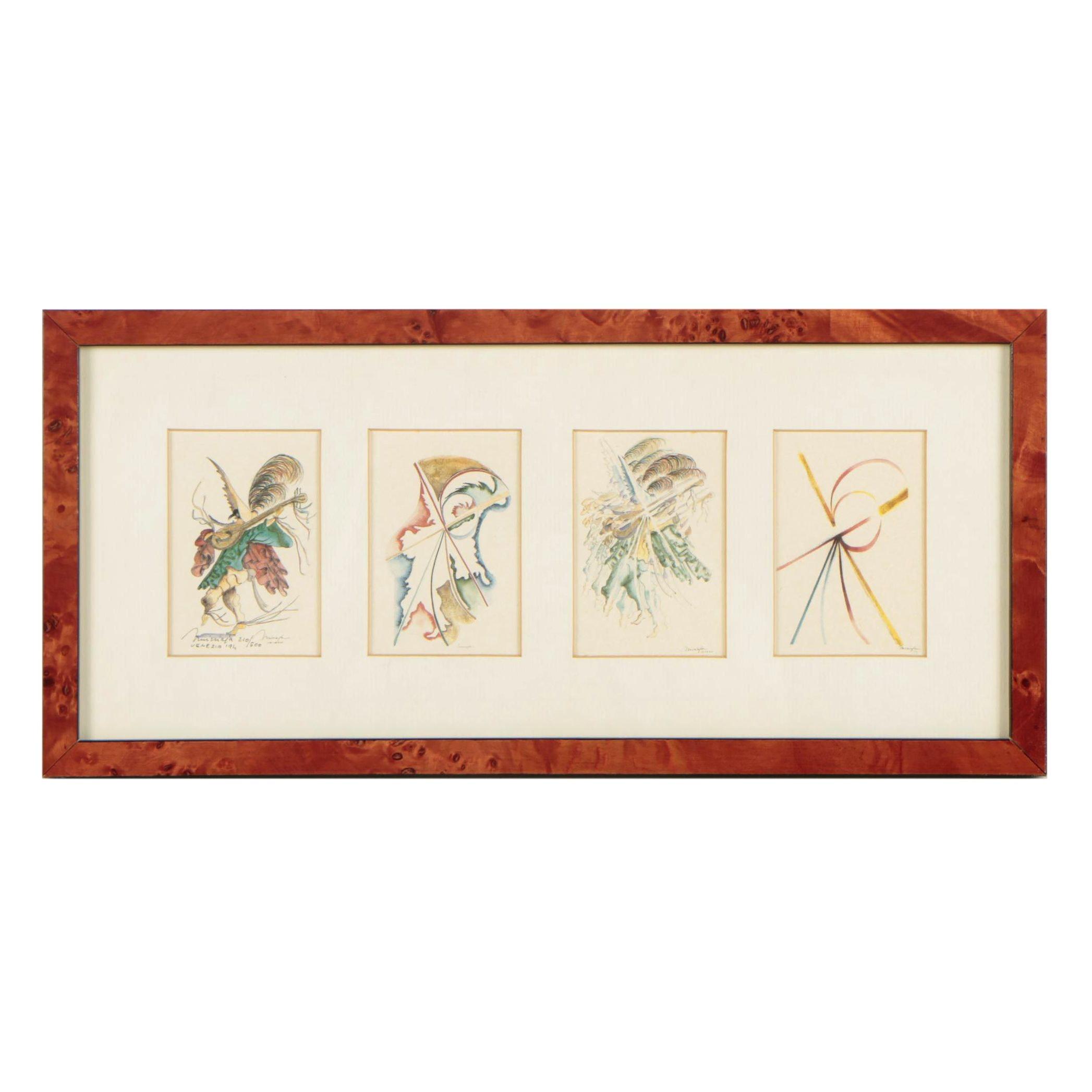 "Missiaja Embellished Limited Edition Venetian Print ""Sintesi Zanni Metzerin"""