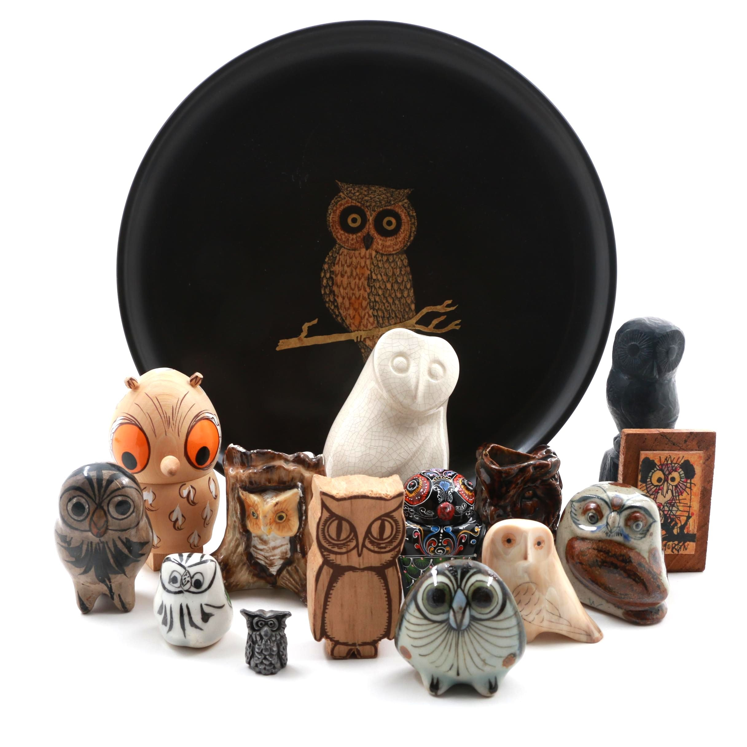 Assortment of Owl Figurines and Decor Including Sitka