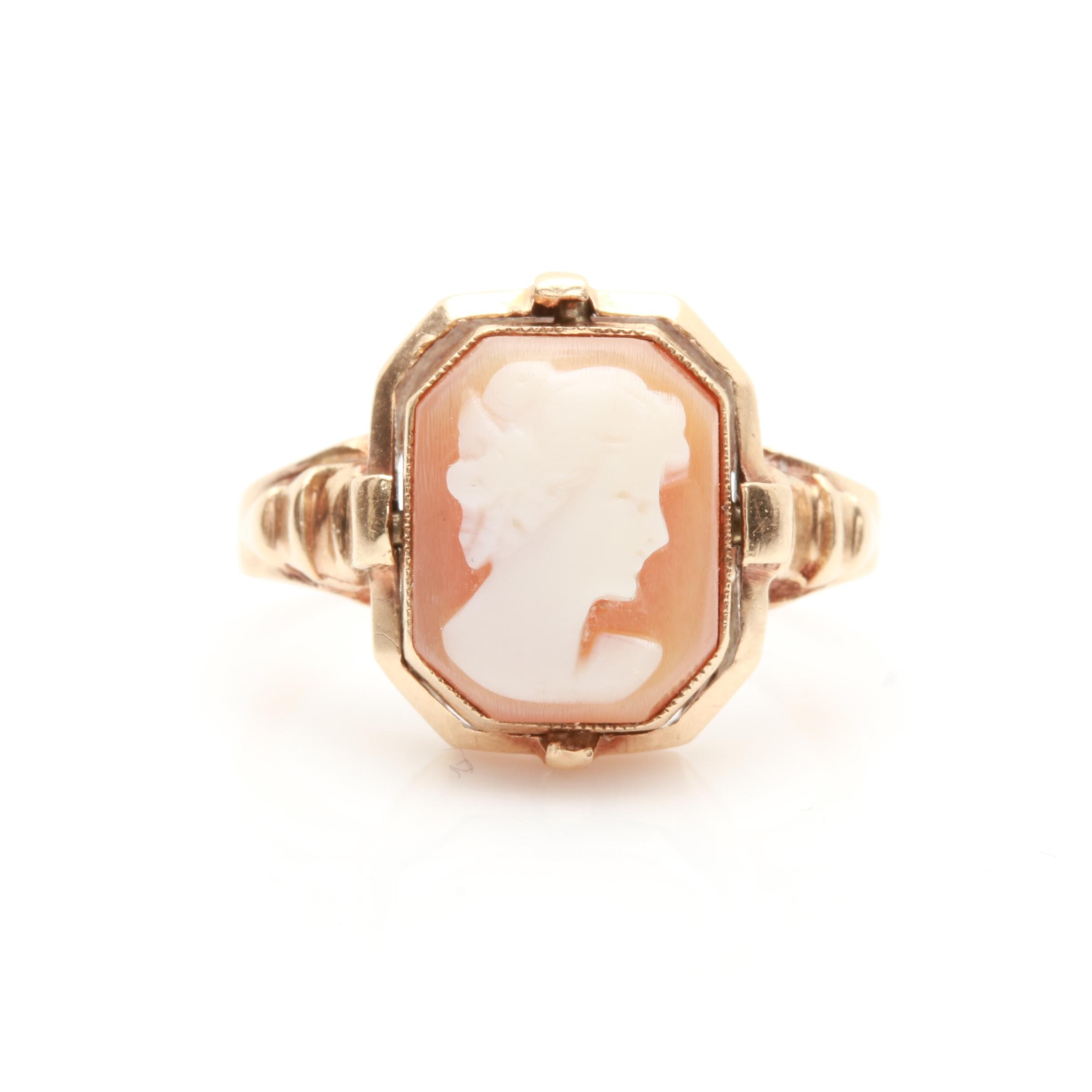 10K Yellow Gold Shell Cameo, Synthetic Ruby and Diamond Flip Ring