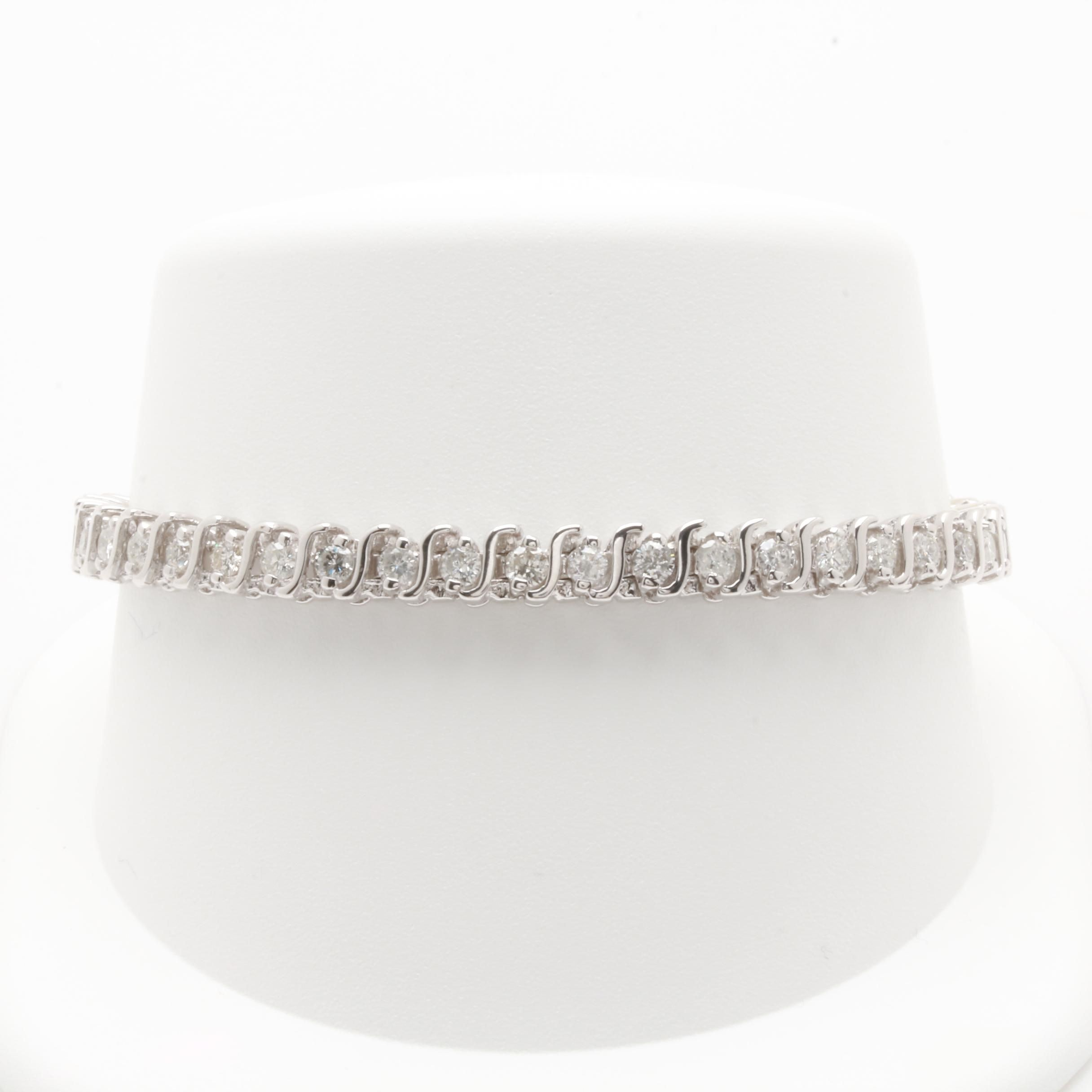 14K White Gold 3.00 CTW Diamond Link Bracelet