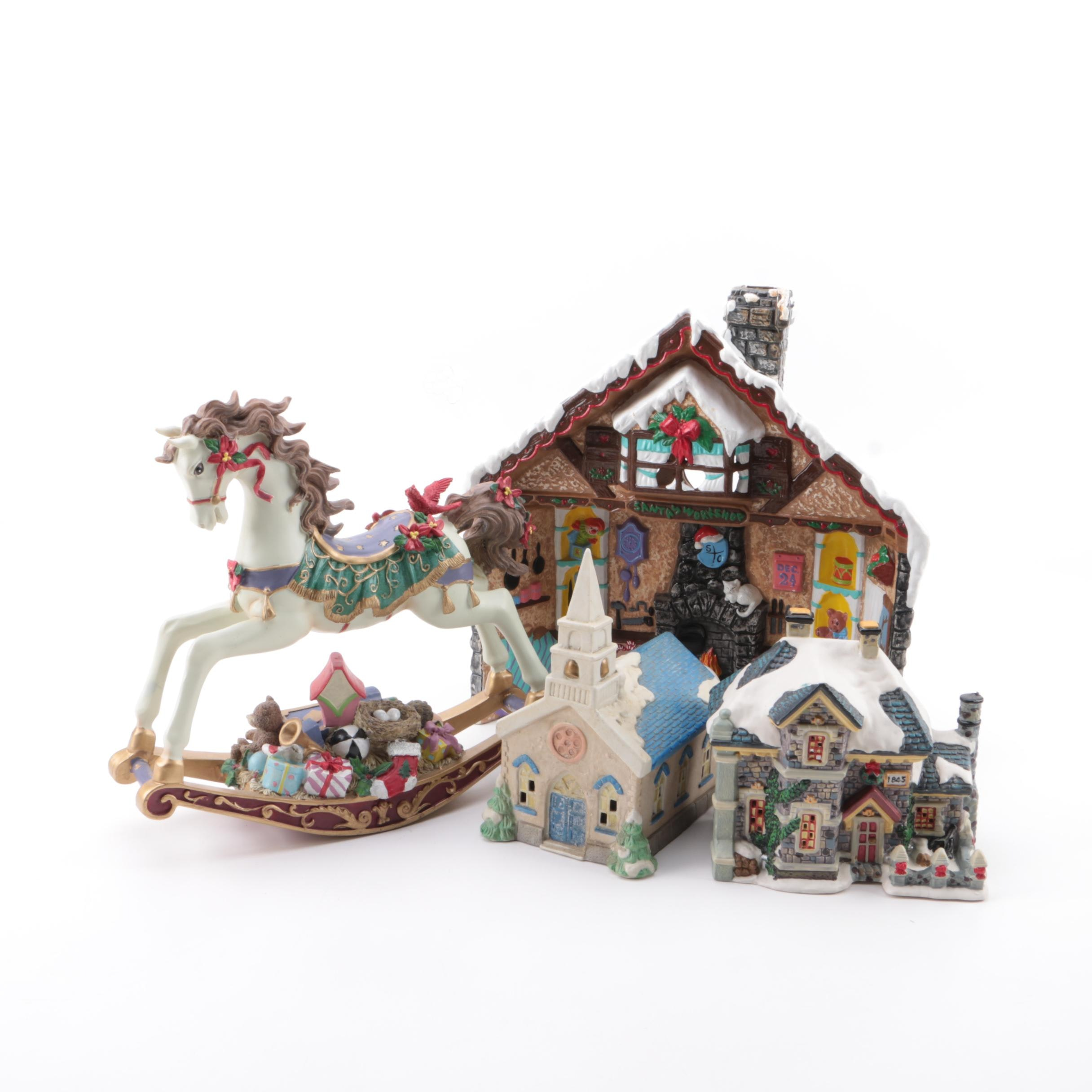 Holiday Houses and Musical Horse Decorations