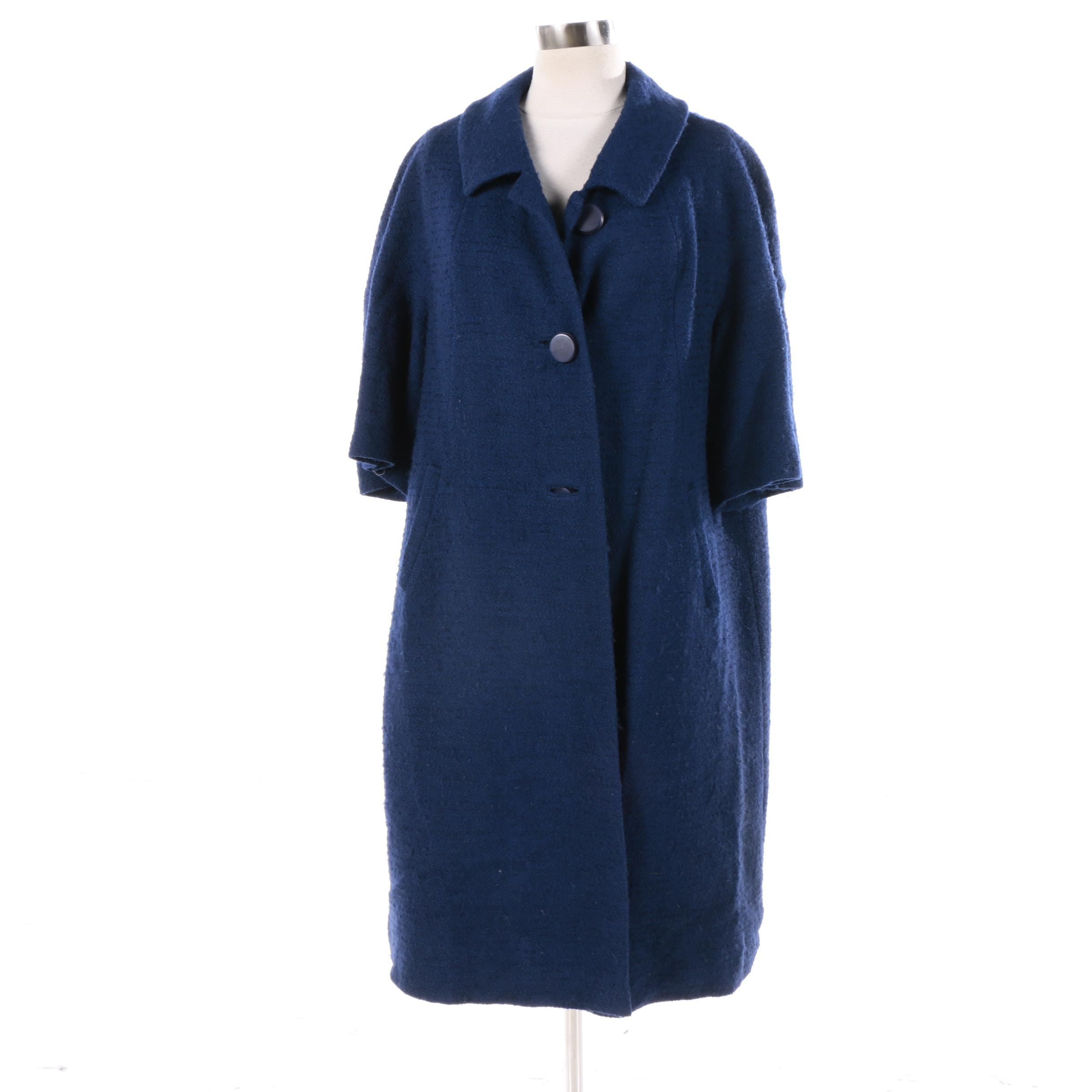 Women's Vintage Worumbo Navy Blue Wool Hand Tailored Swing Coat