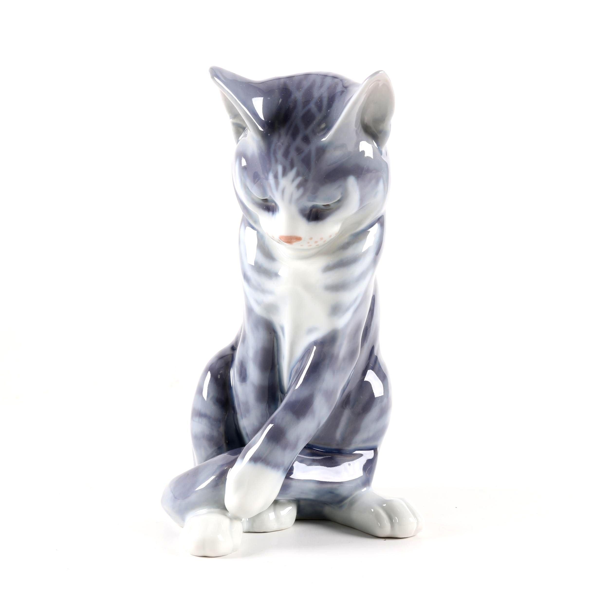 Royal Copenhagen Cat Sitting Figurine by Niels Nielsen 055