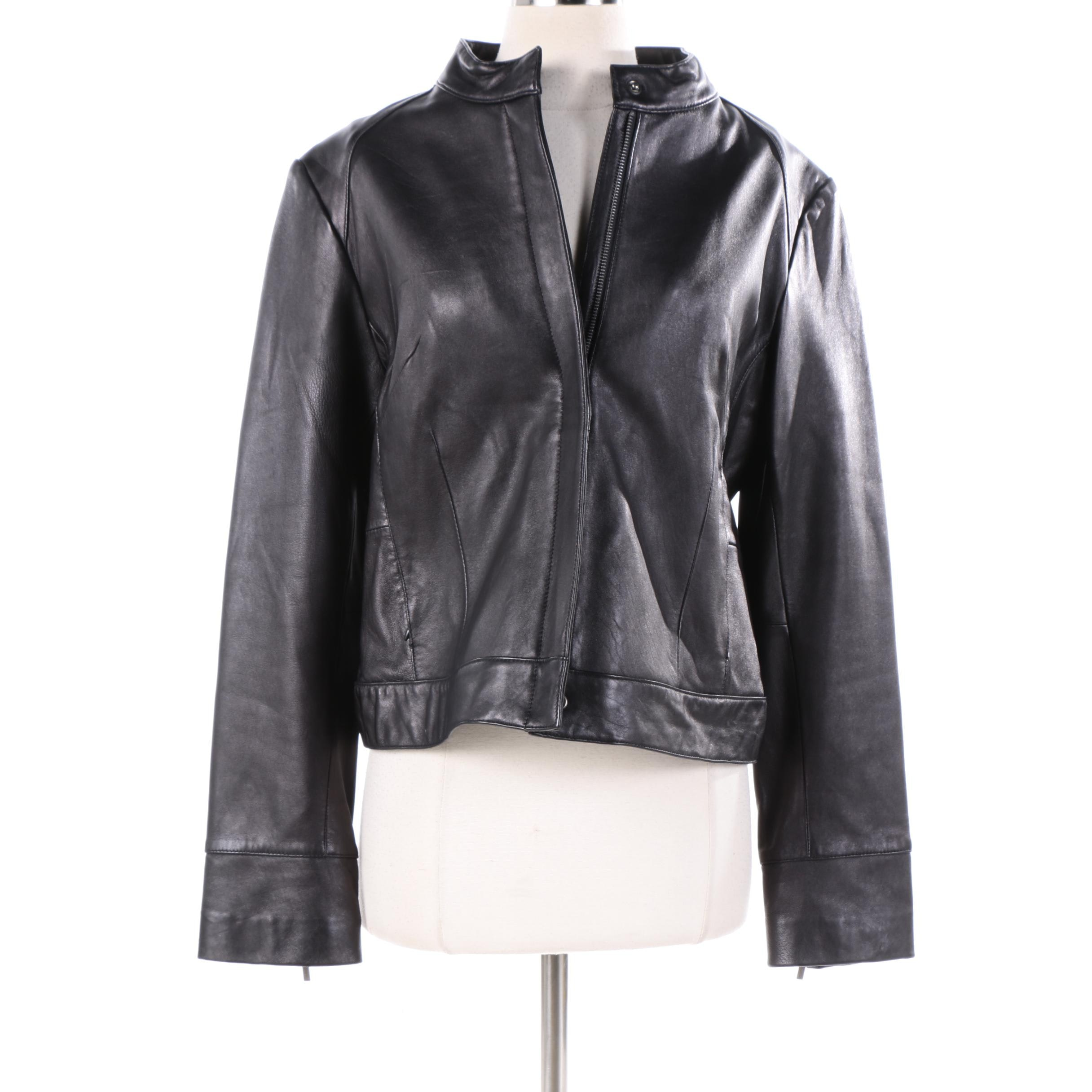 Women's Nicole Miller New York Black Leather Zipper-Front Jacket