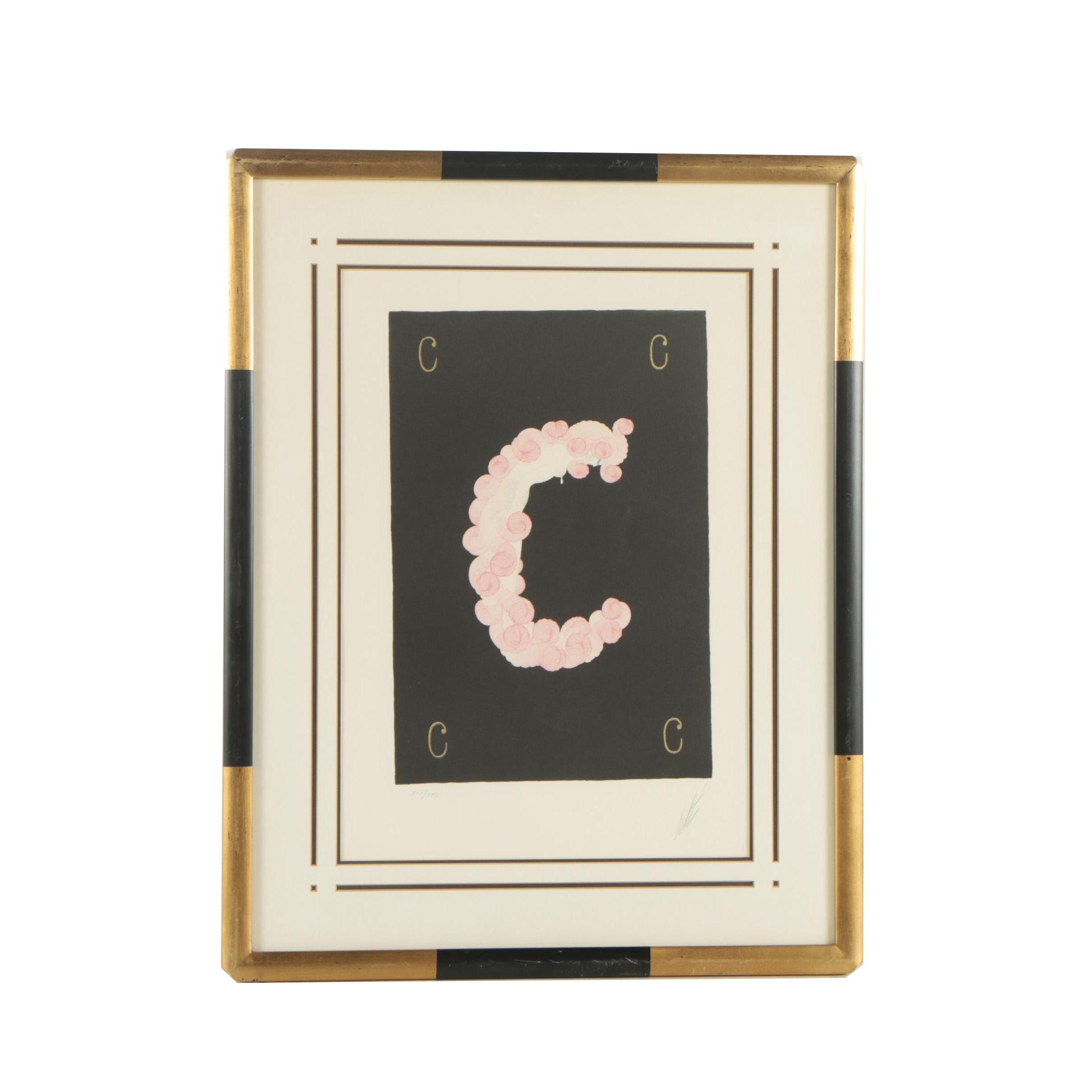 """Erté Serigraph """"Letter C"""""""