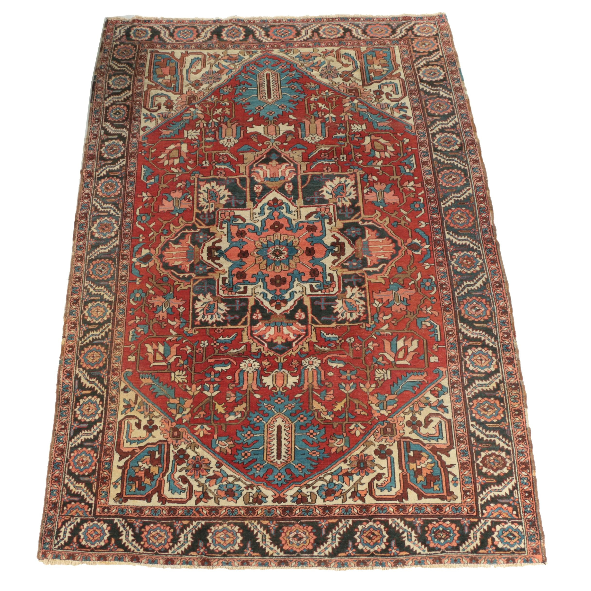 Large Hand-Knotted Persian Heriz Area Rug