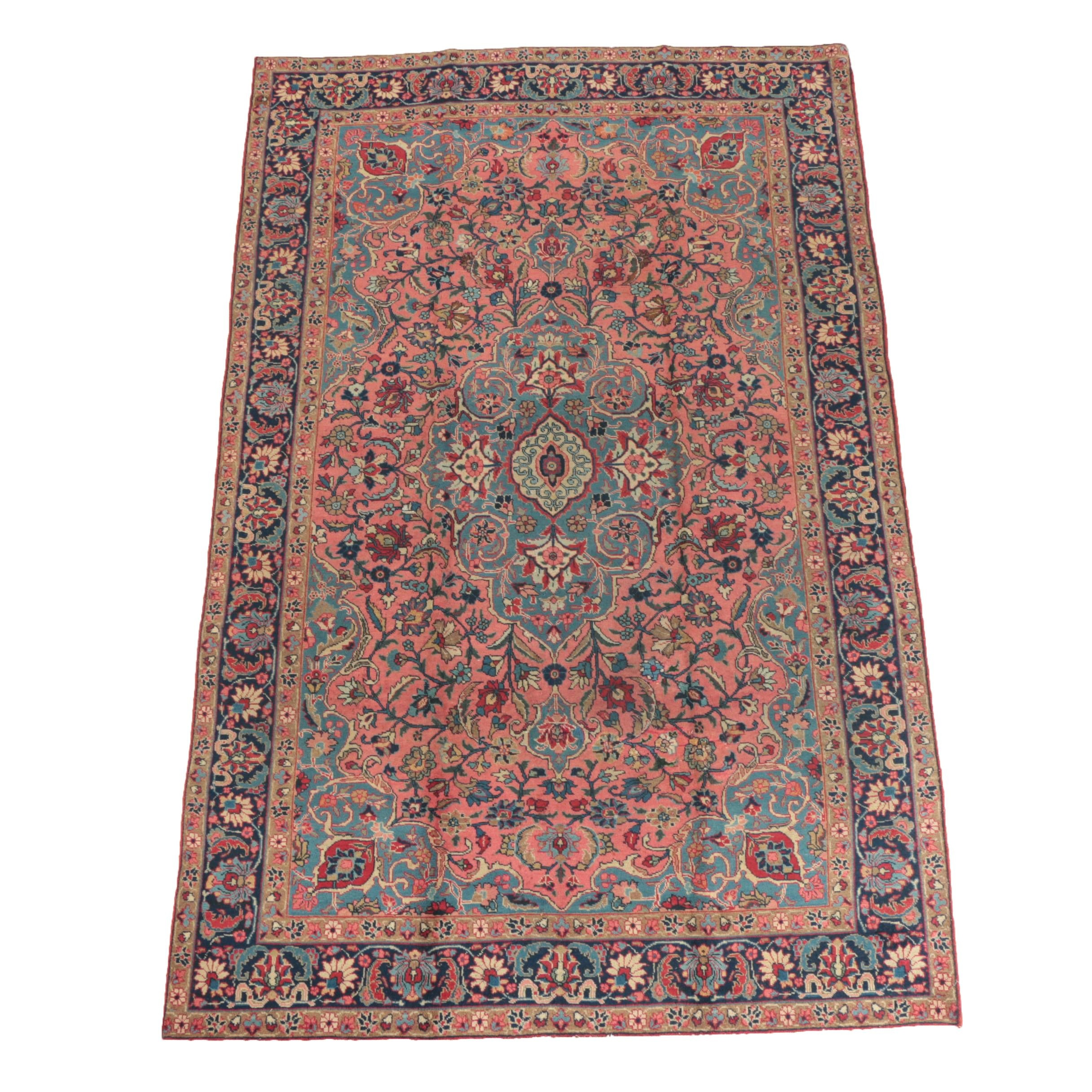 Hand-Knotted Sarouk-Style Wool Area Rug