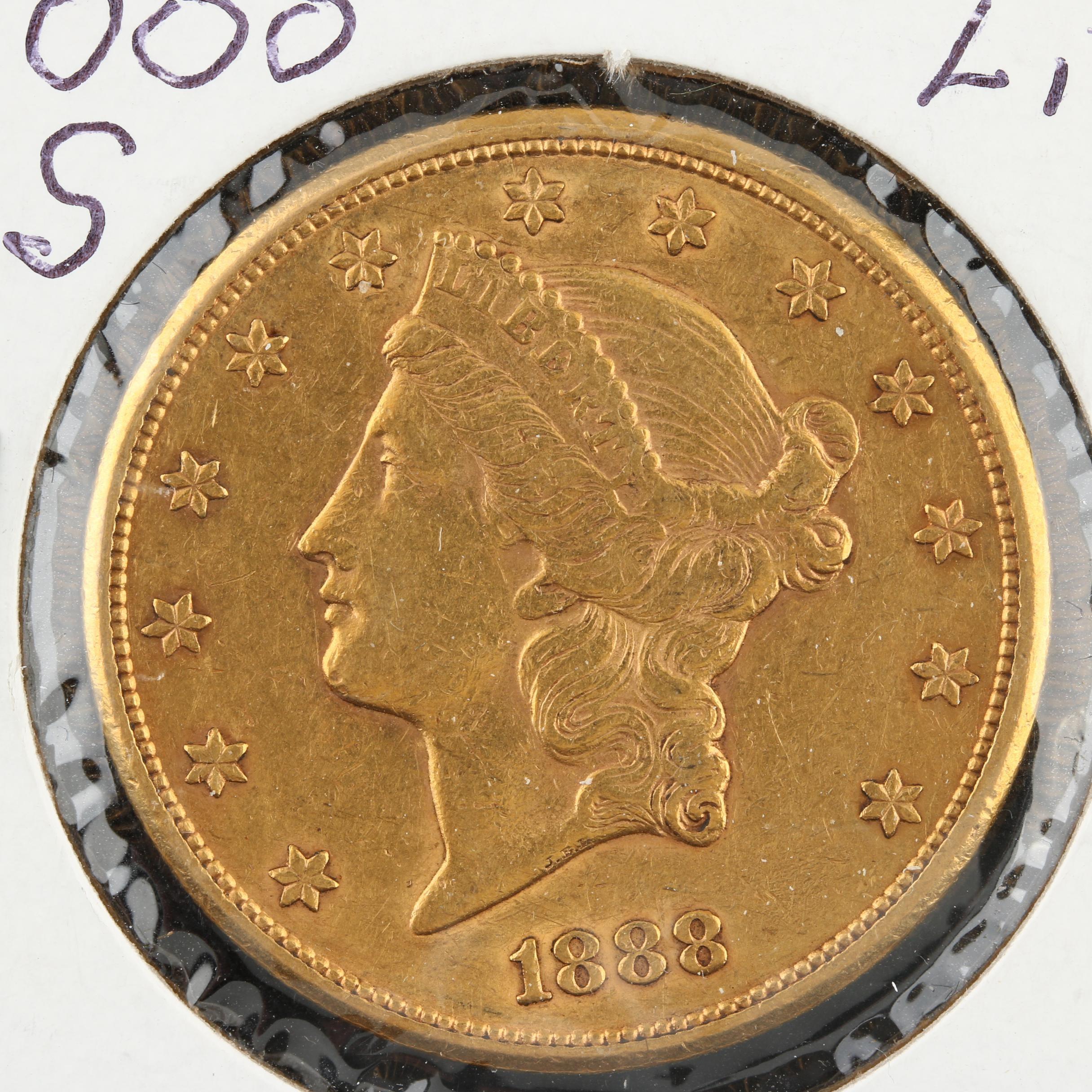 1888-S Liberty Head $20 Gold Double Eagle