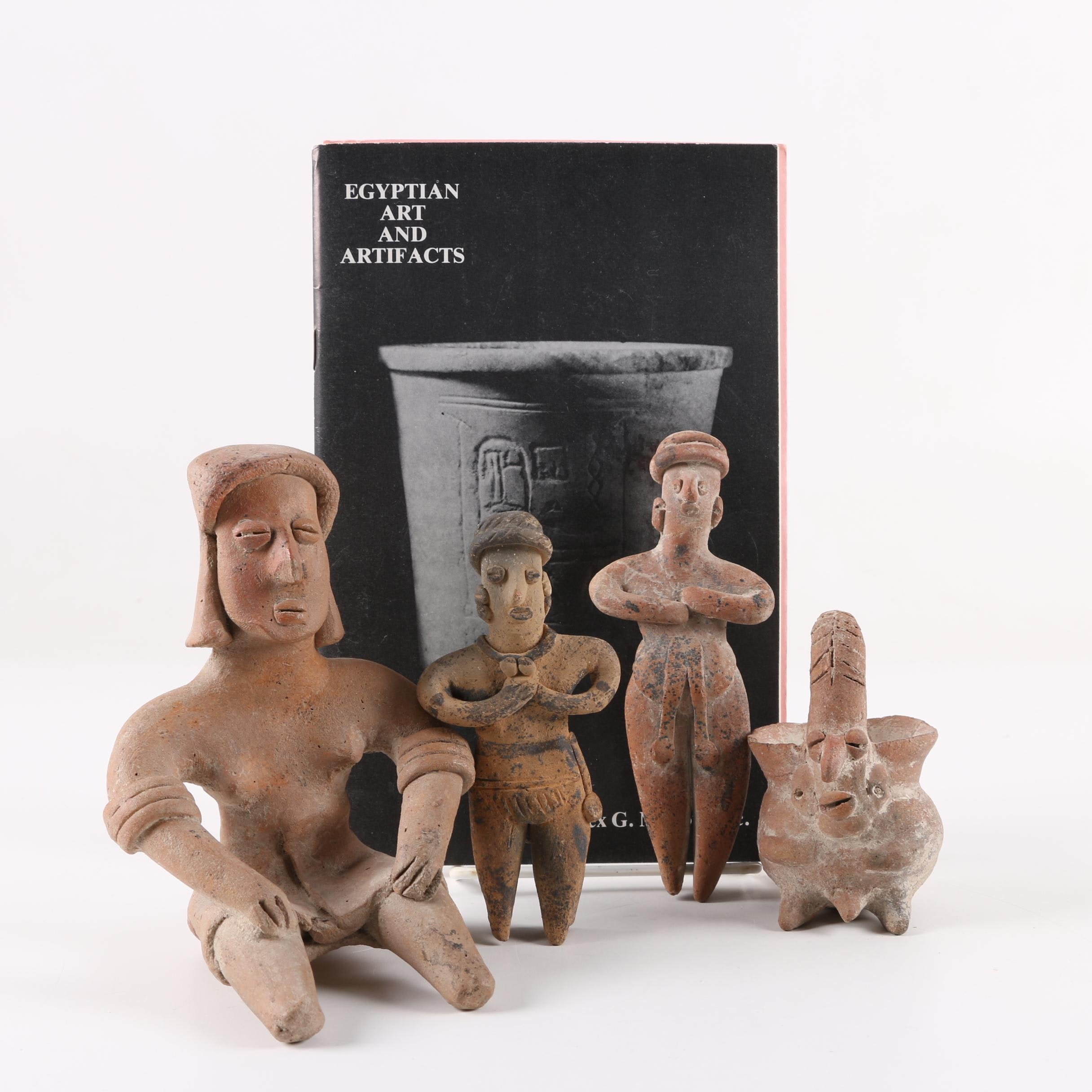 Mesoamerican Style Terracotta Figurines with Booklet