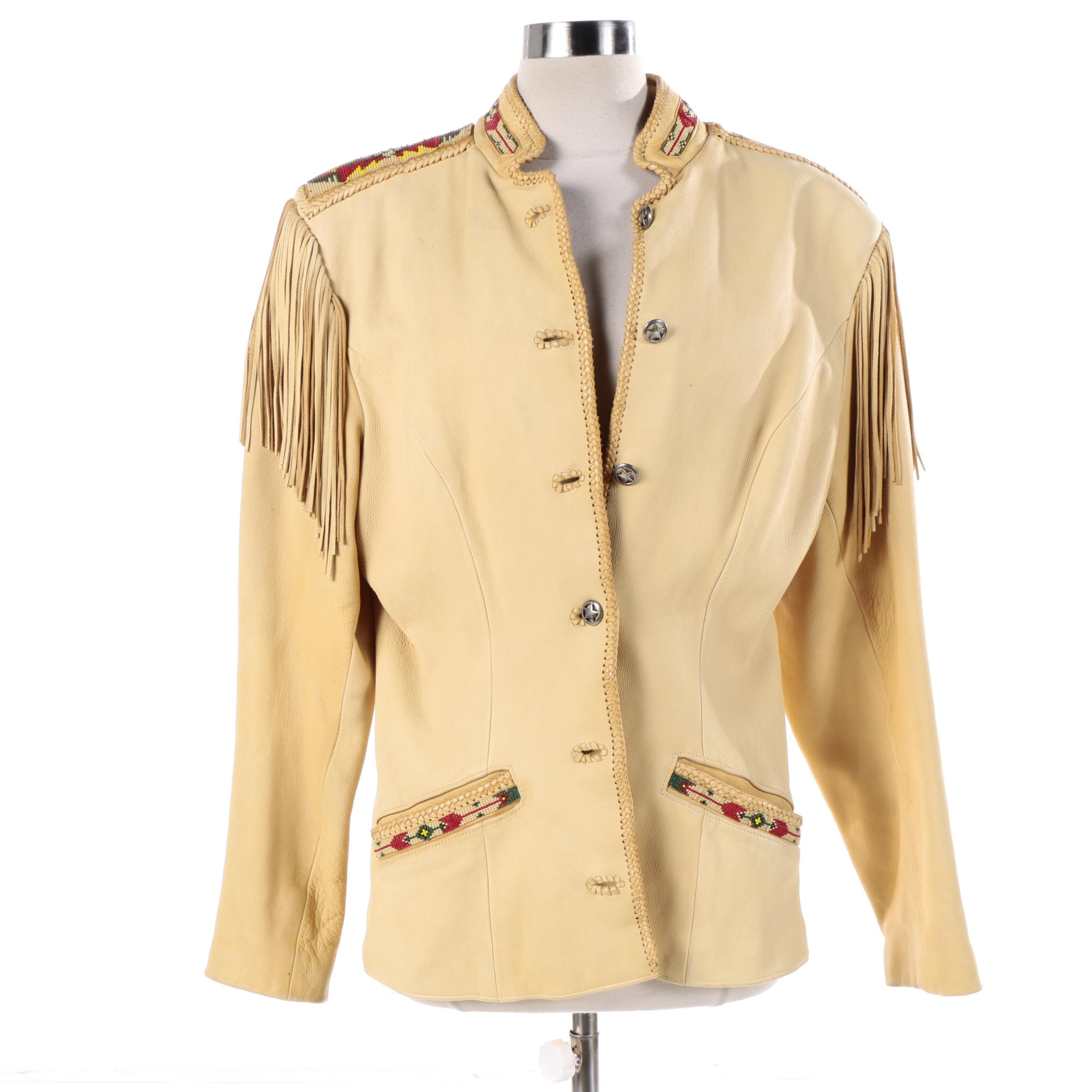 Women's Vintage Renegade by Ren Ellis Western Style Cream Leather Jacket