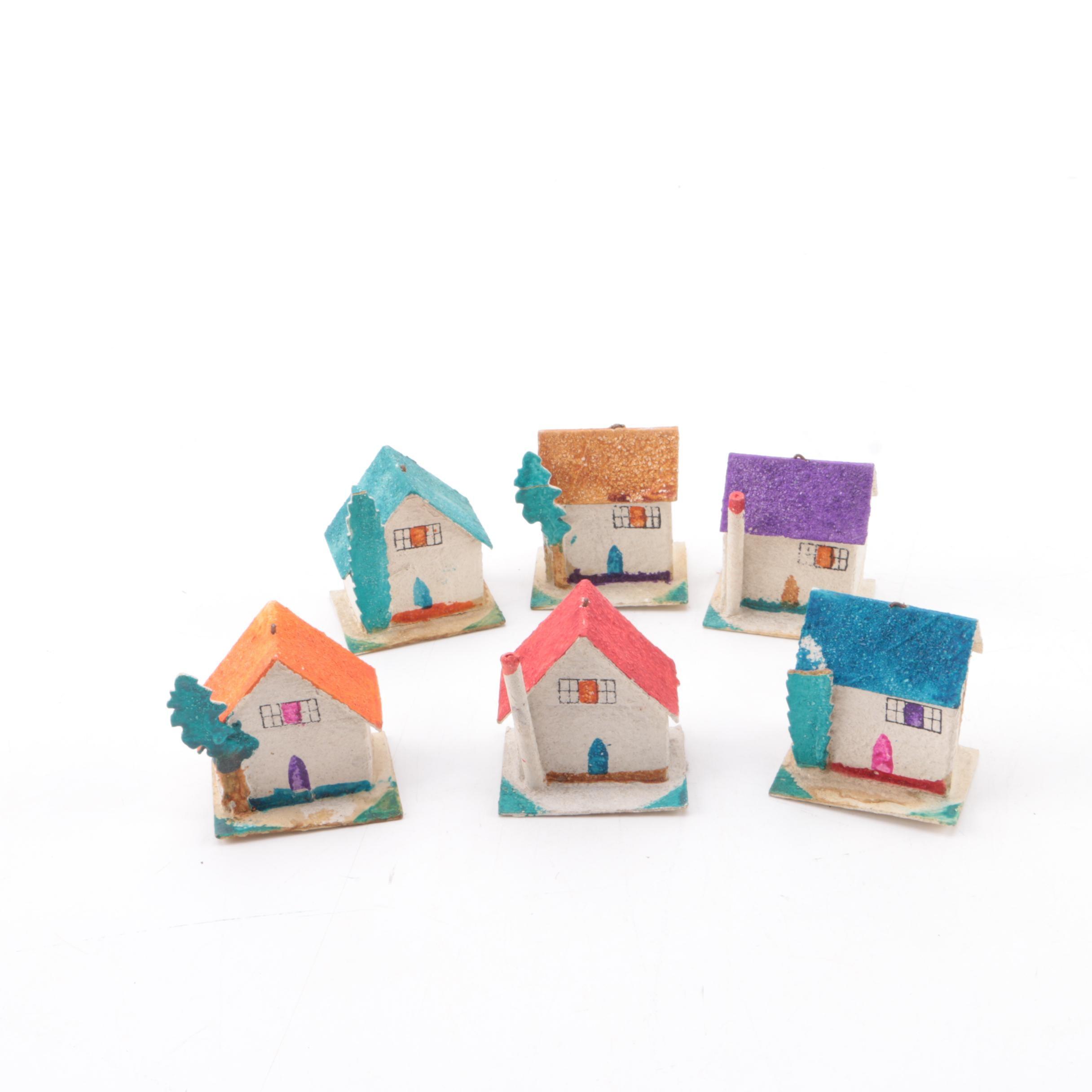 Vintage Japanese Miniature Papier-Mâché Toy Houses