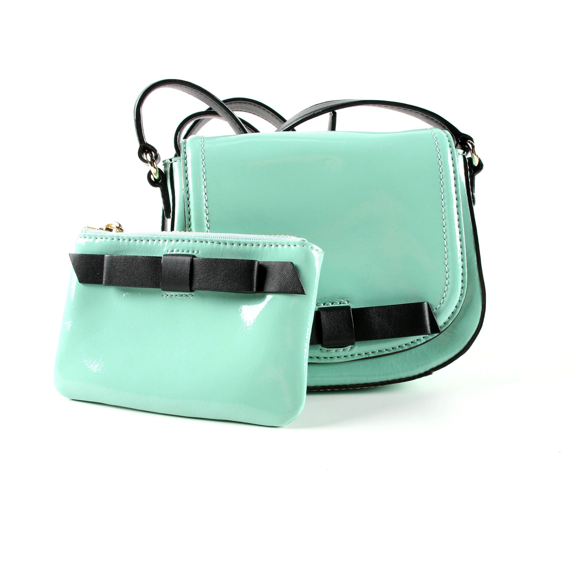 Kate Spade Chelsea Park Jade Coastline Patent Leather Crossbody Bag and Pouch