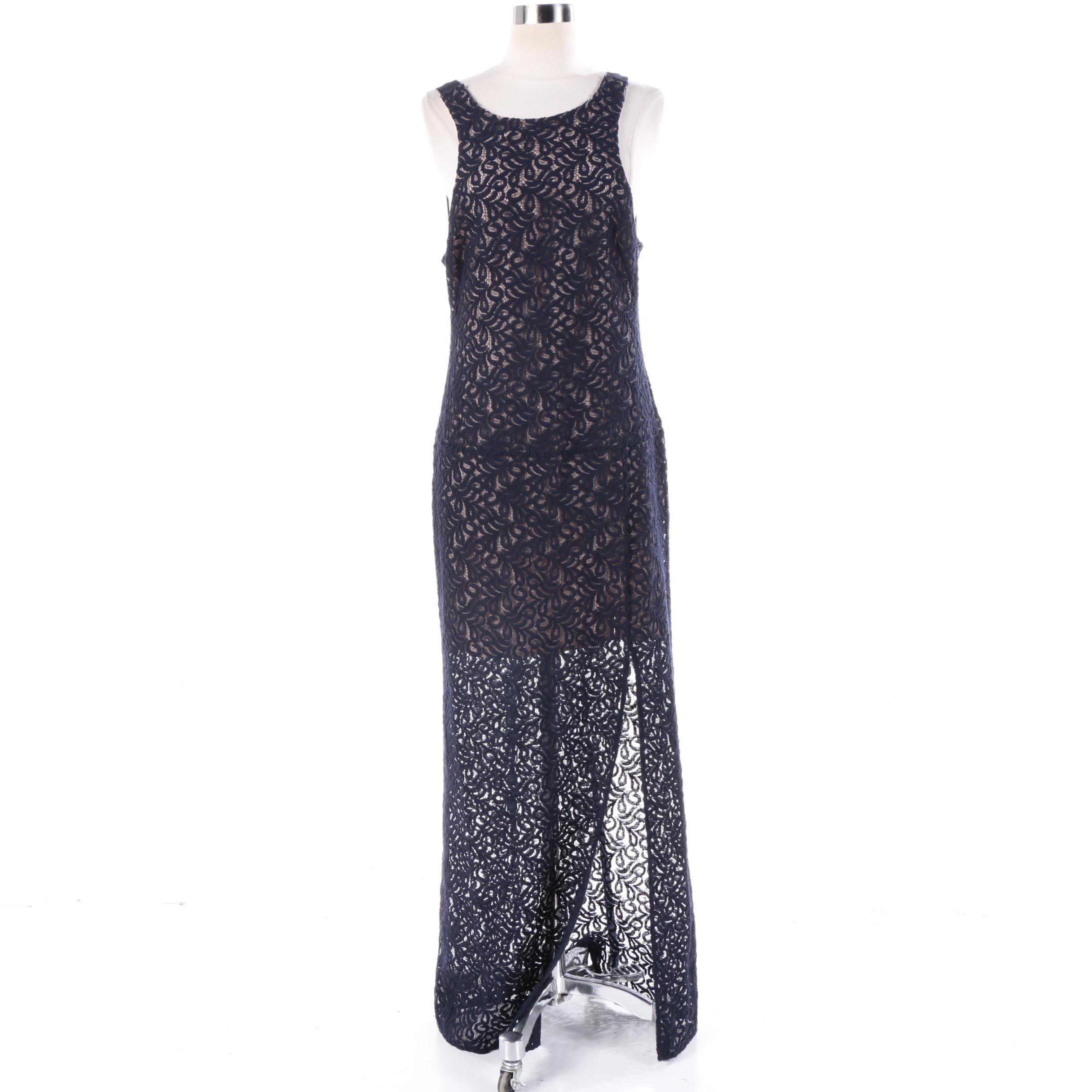 Free People Deep Indigo Lace Mesh Sleeveless Dress