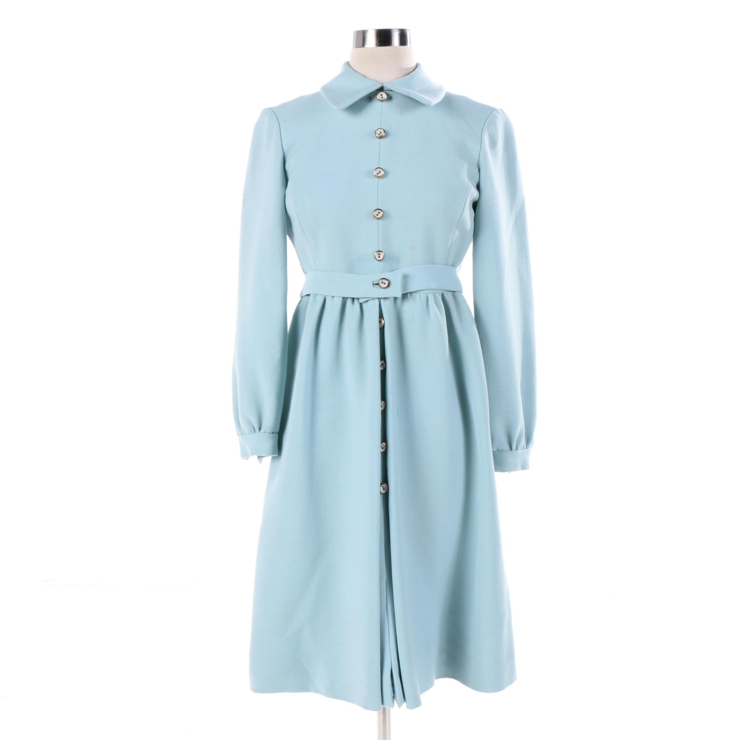 Circa 1960s Vintage Blue Shirt Dress