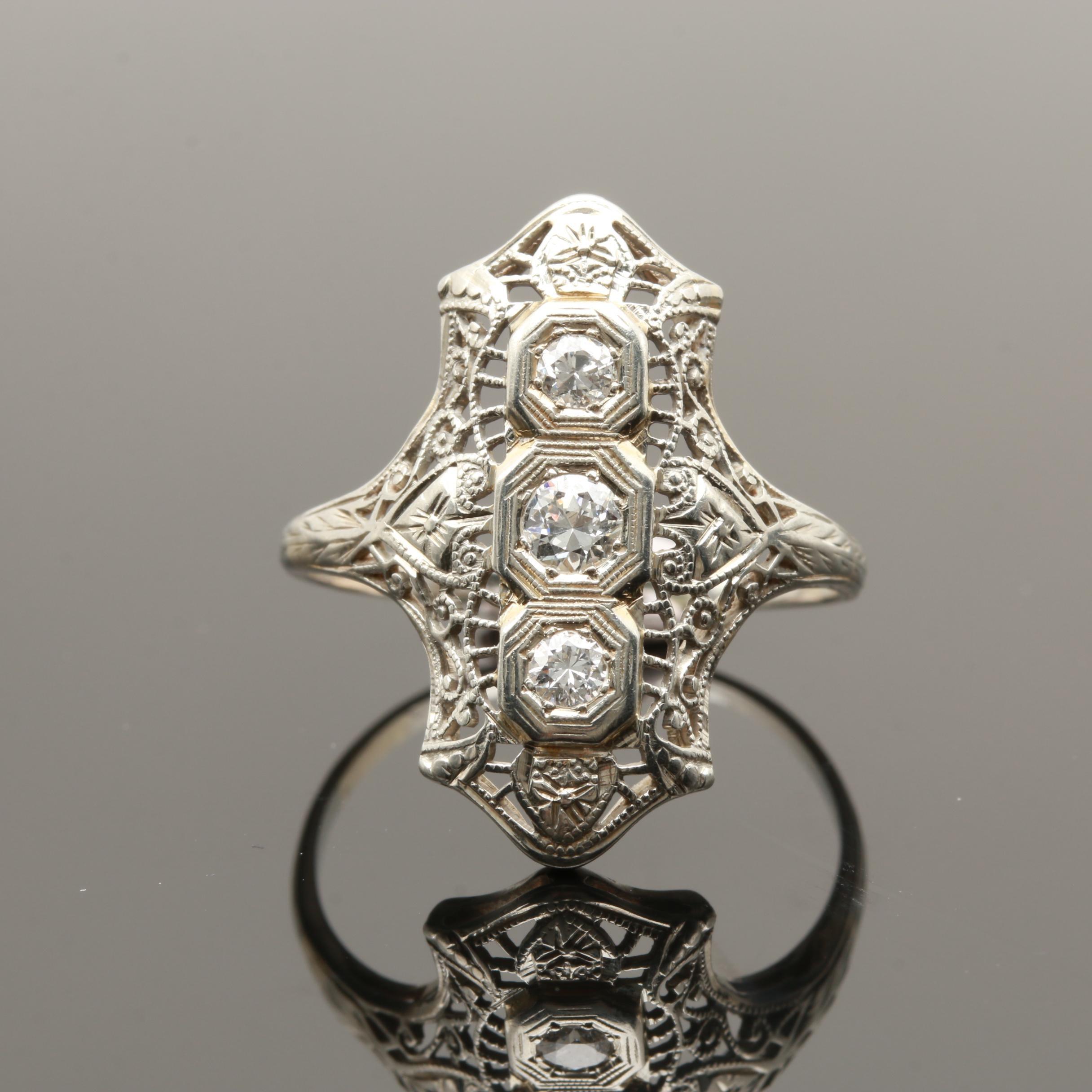 Edwardian 18K White Gold Diamond Dinner Ring