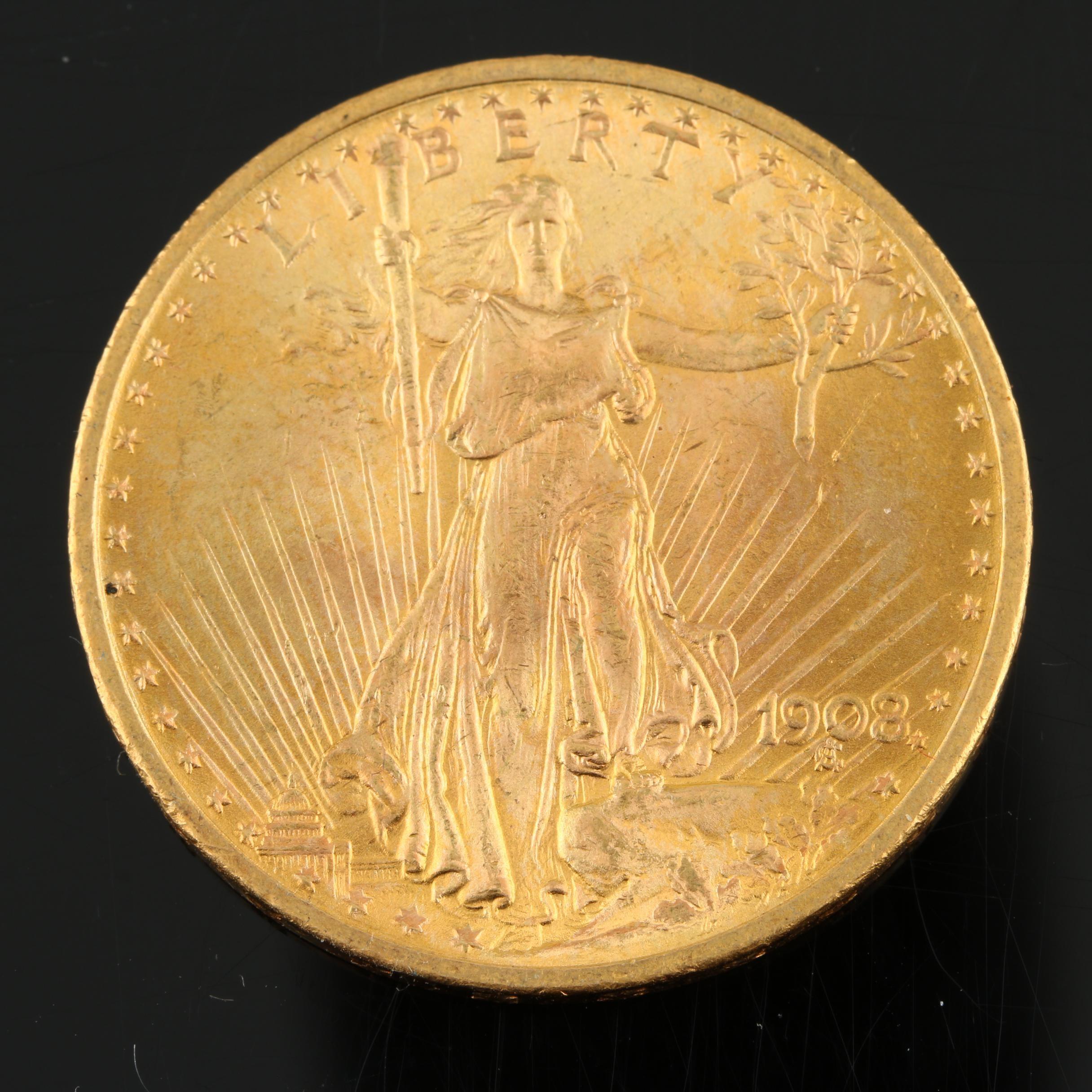 1908 Saint-Gaudens $20 Gold Double Eagle, No Motto Variety