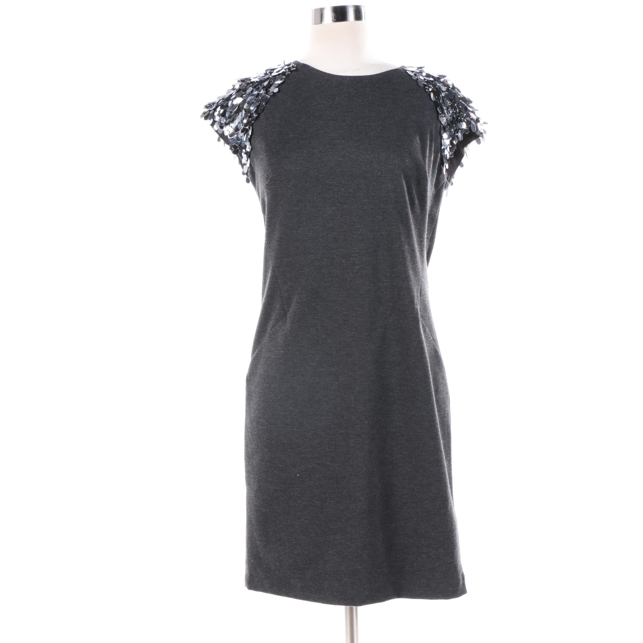 MICHAEL Michael Kors Dark Derby Cocktail Dress with Sequined Sleeves
