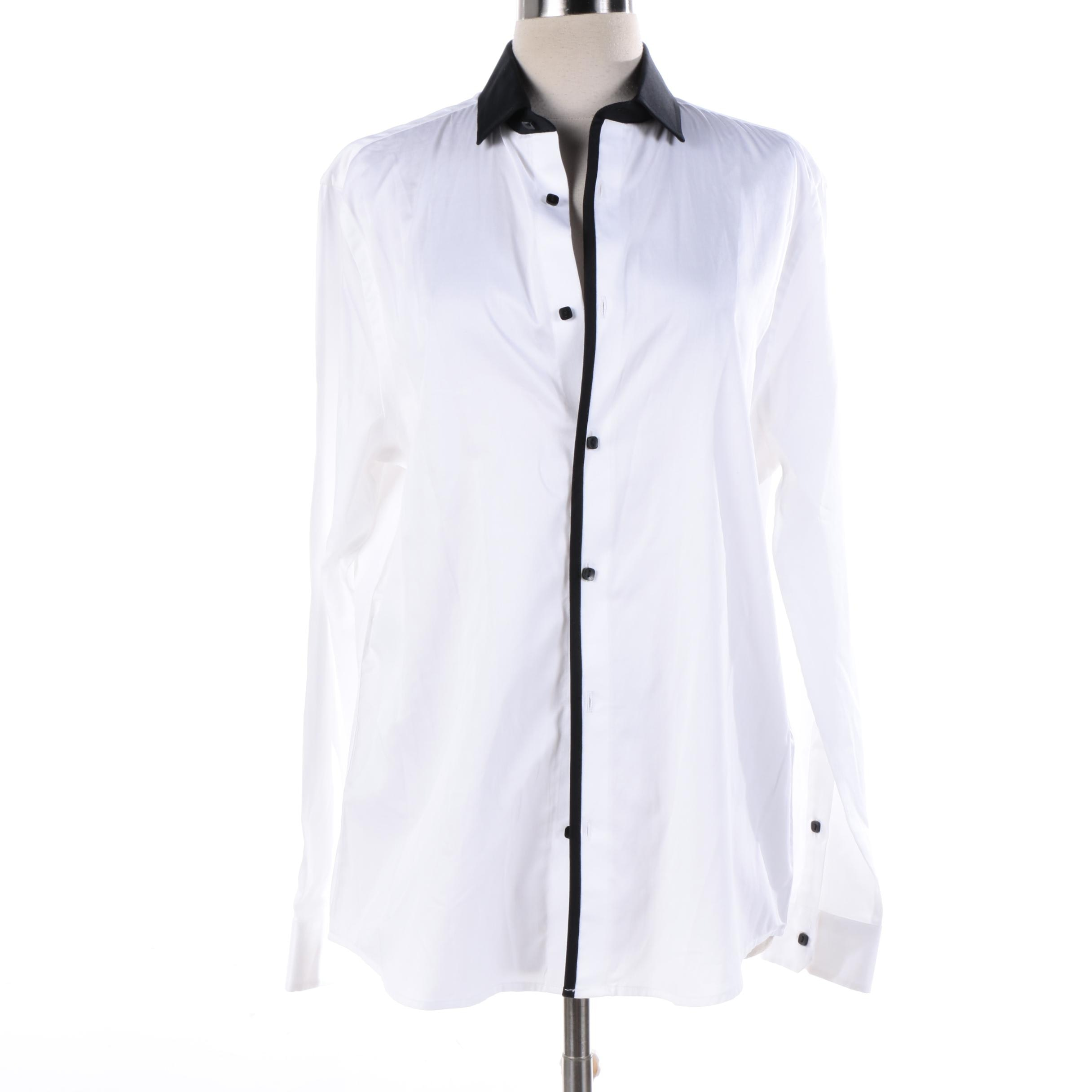 Women's Karl Lagerfeld White Dress Button-Front Shirt Trimmed in Black