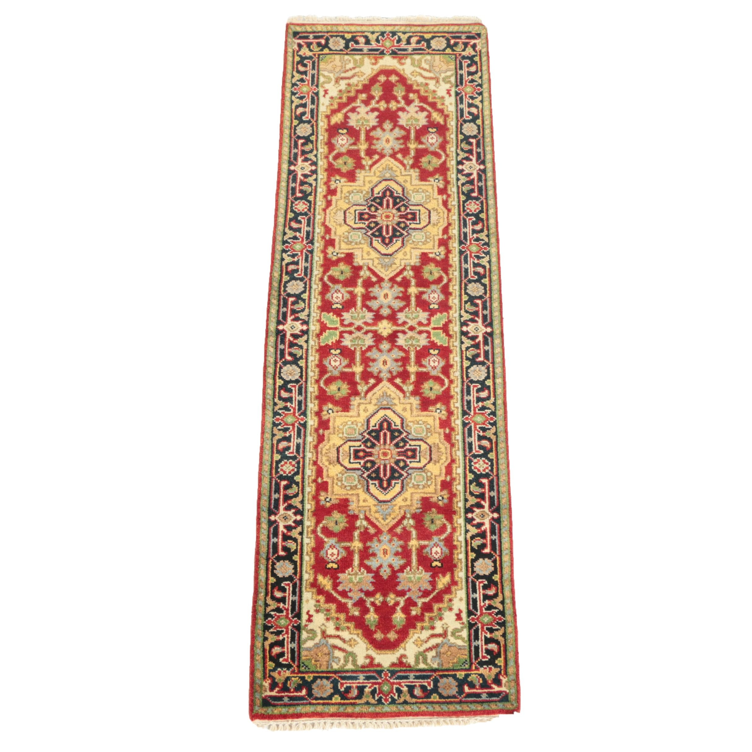 Hand-Knotted Indo-Heriz Wool Carpet Runner
