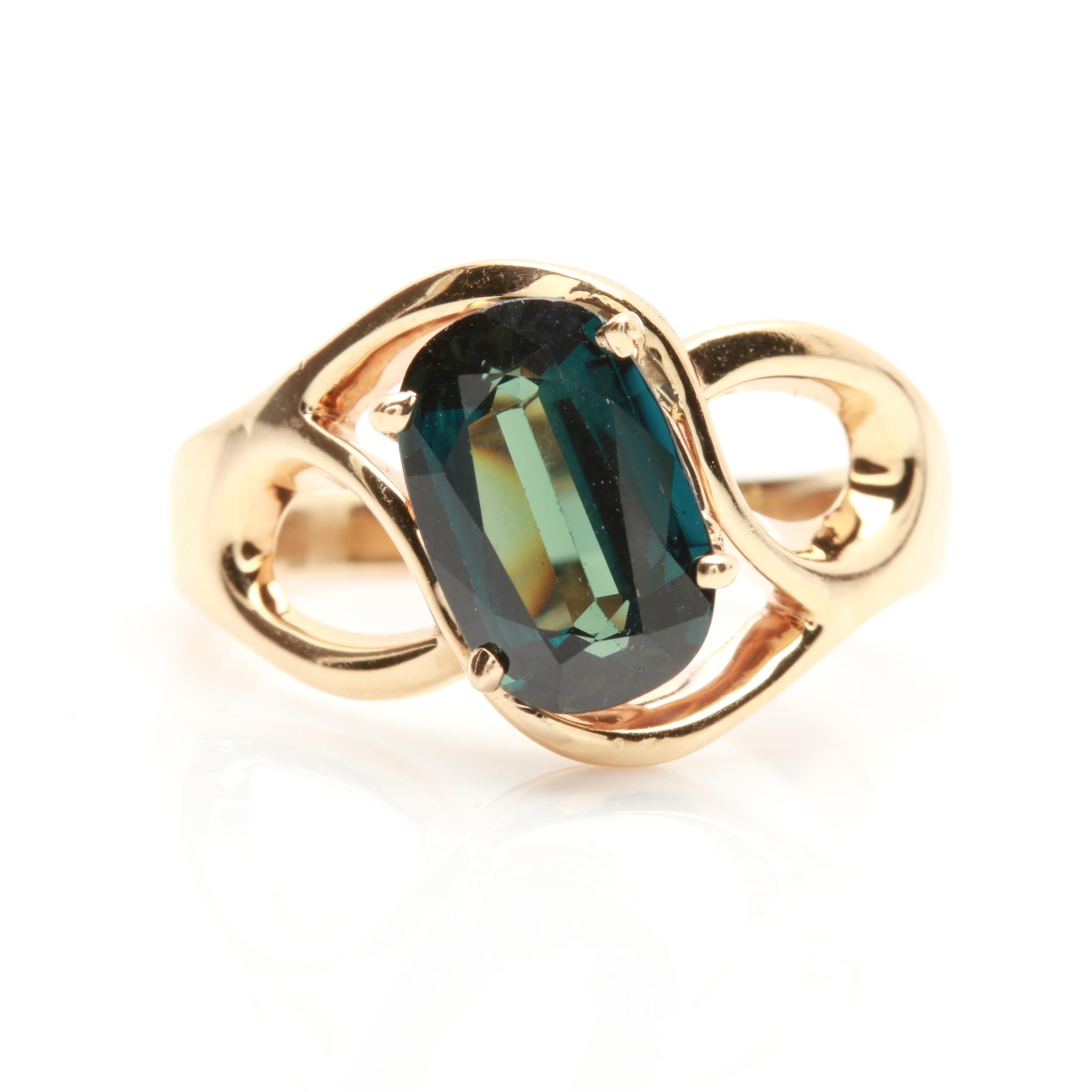 14K Yellow Gold 2.45 CT Blue Sapphire Ring
