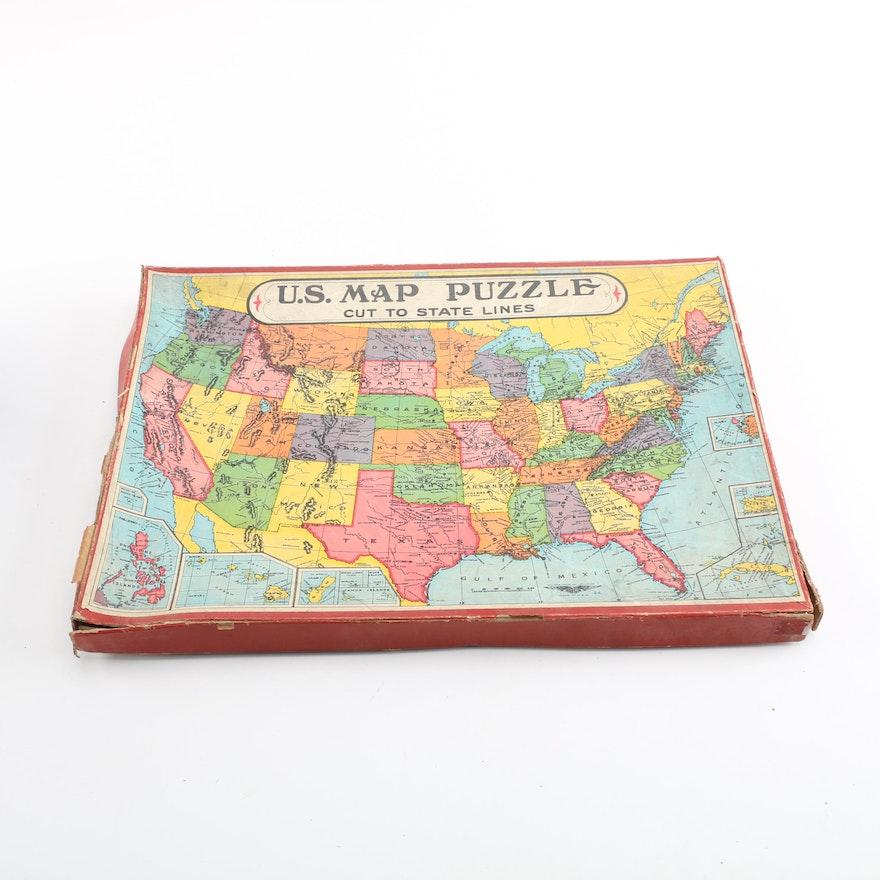 Vintage United States Map Puzzle : EBTH