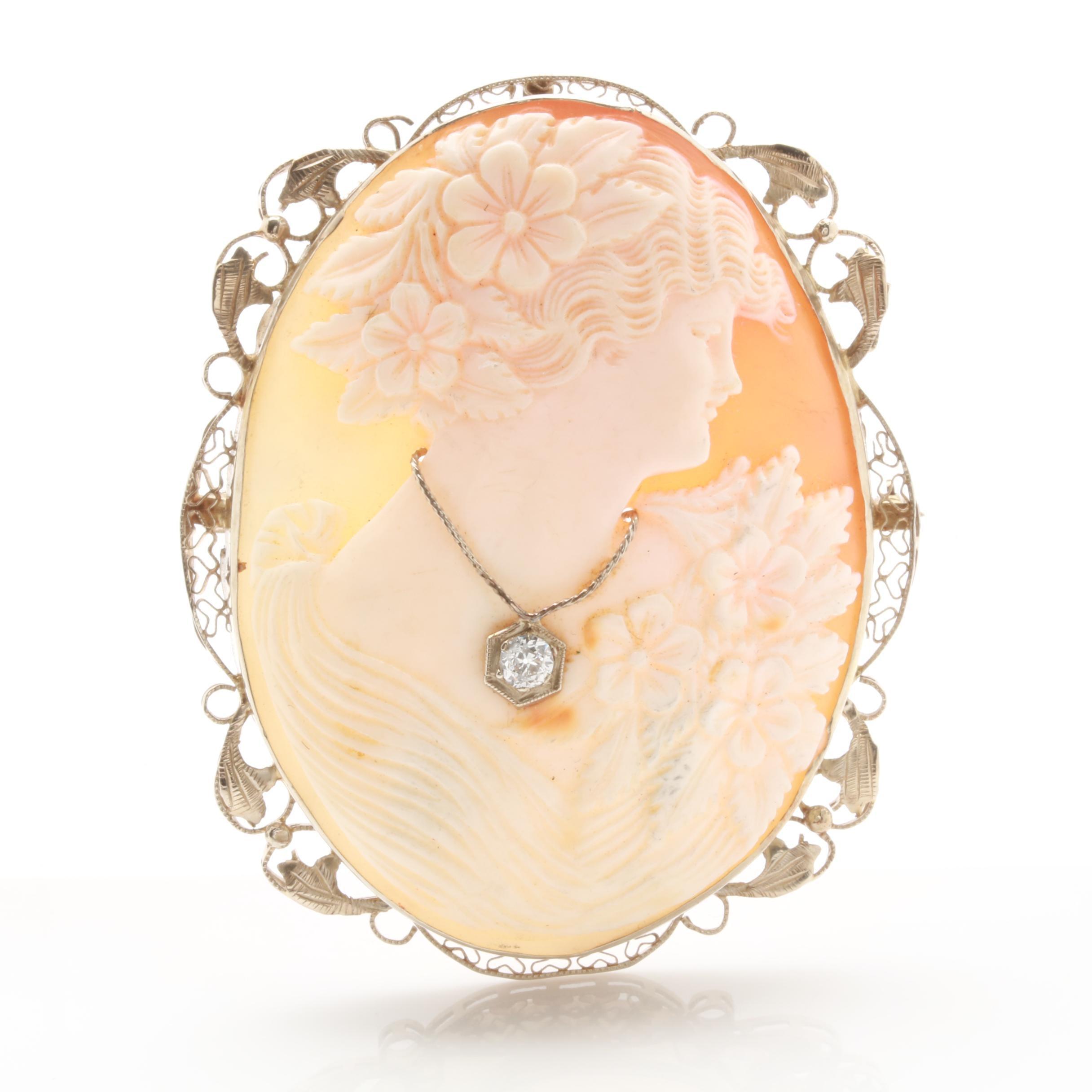 14K White Gold Shell and Diamond Cameo Habillé Converter Brooch
