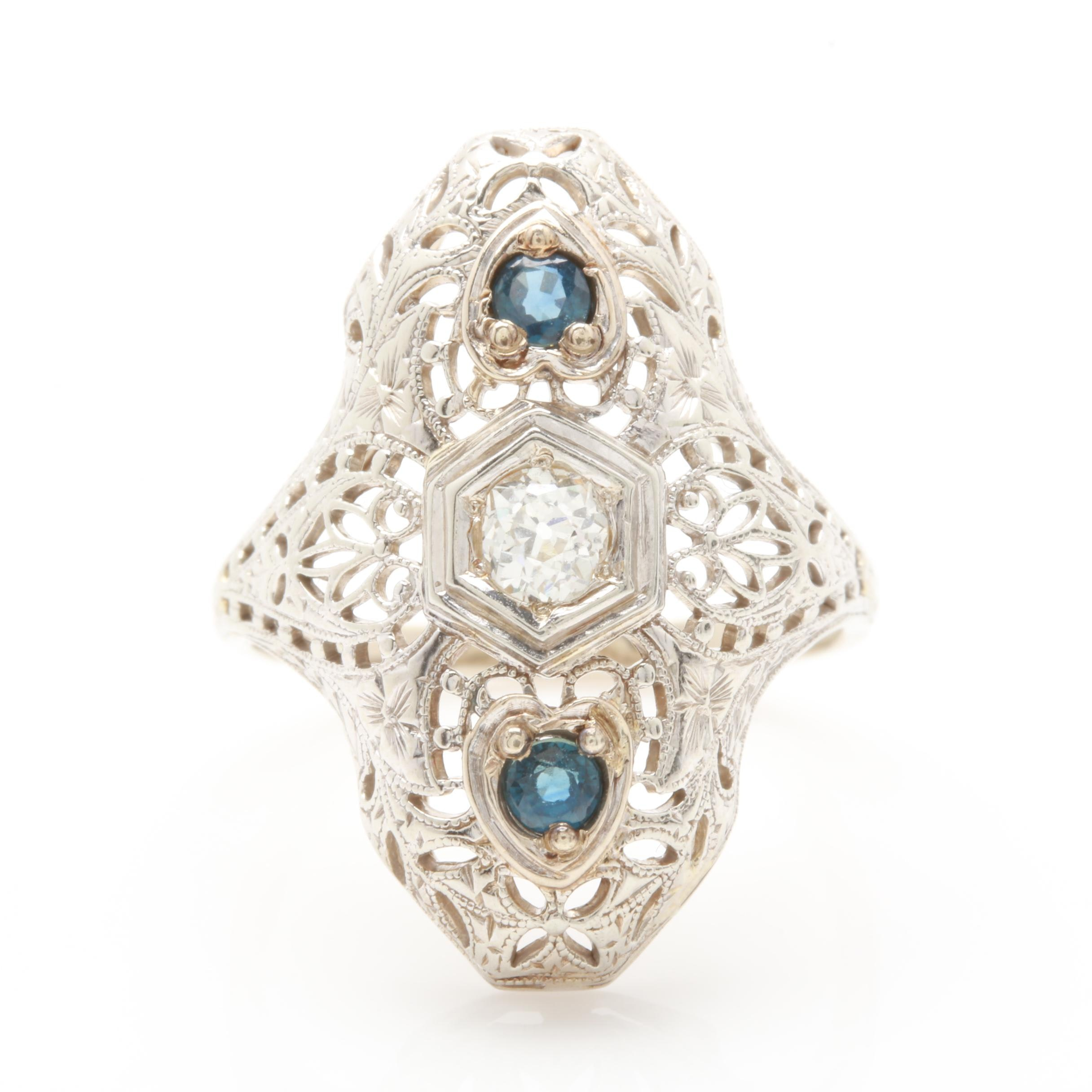 Edwardian 14K and 18K White Gold Diamond and Blue Sapphire Ring