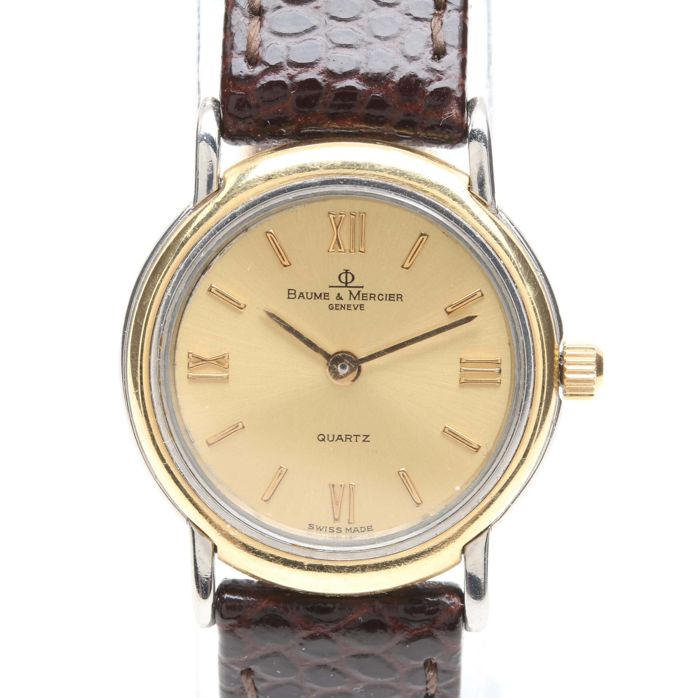 Baume & Mercier Stainless Steel and Leather Strap Wristwatch