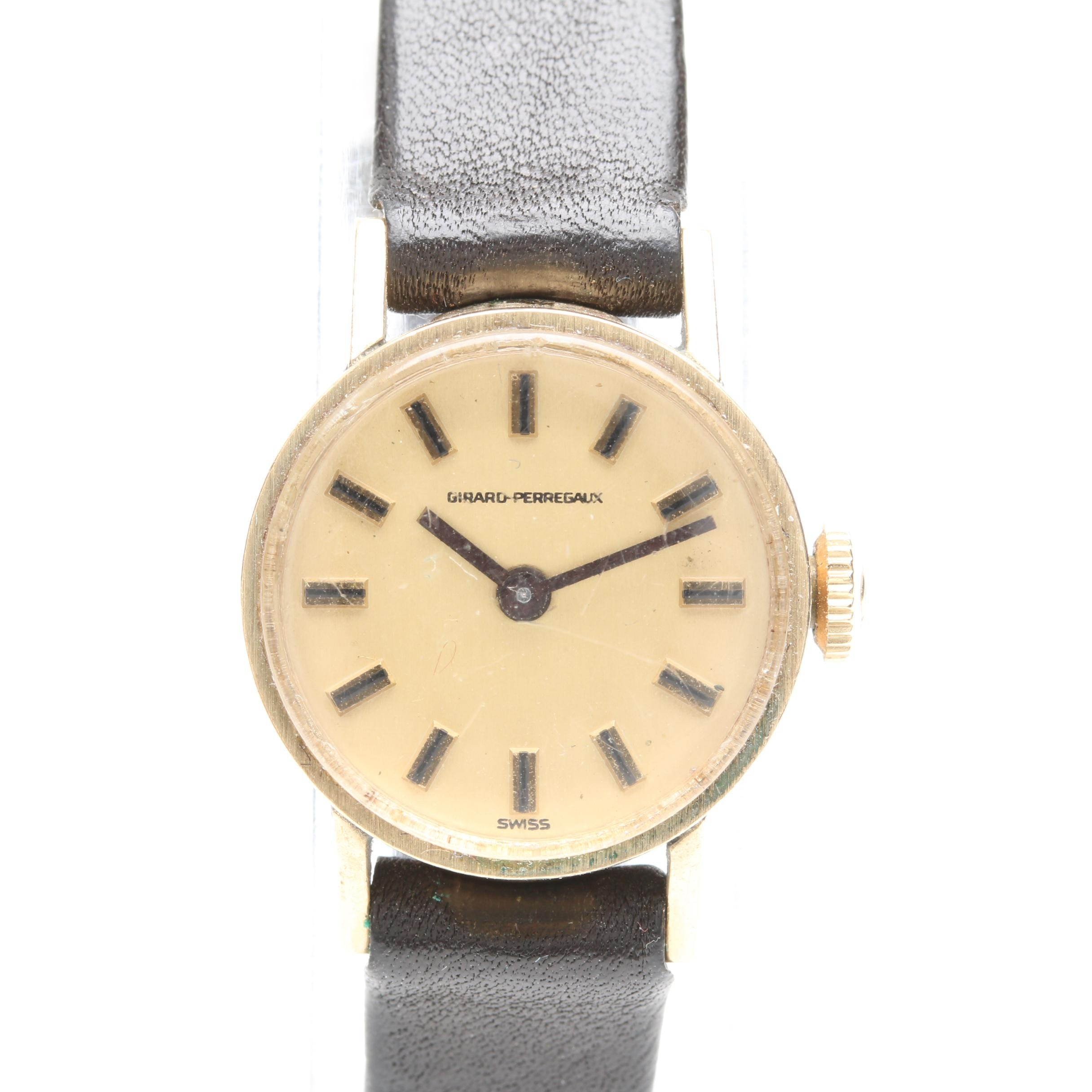 Girard-Perregaux 10K Gold Filled Wristwatch With Leather Strap