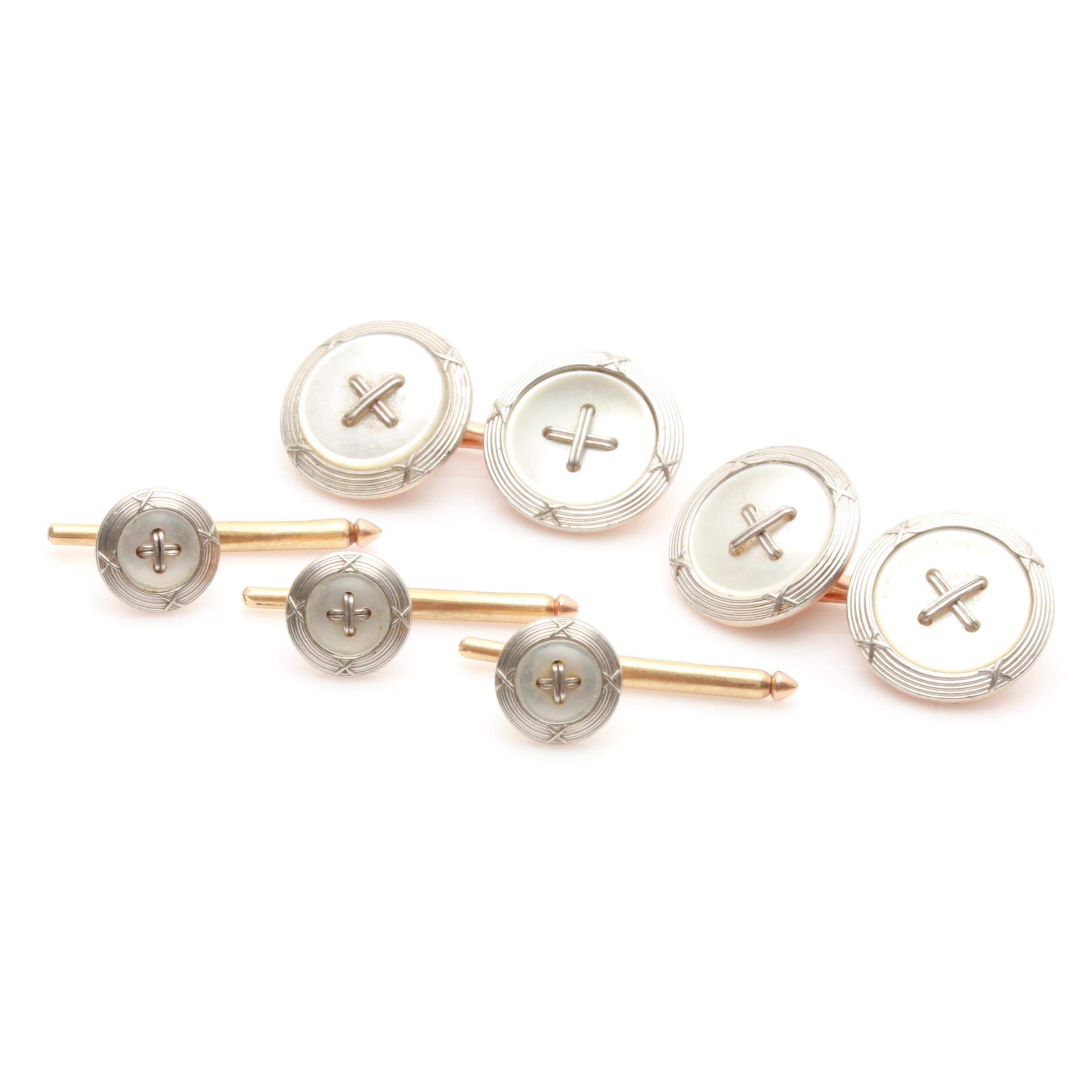 Carrington & Co. 14K Yellow Gold Mother of Pearl Cufflink and Shirt Stud Set