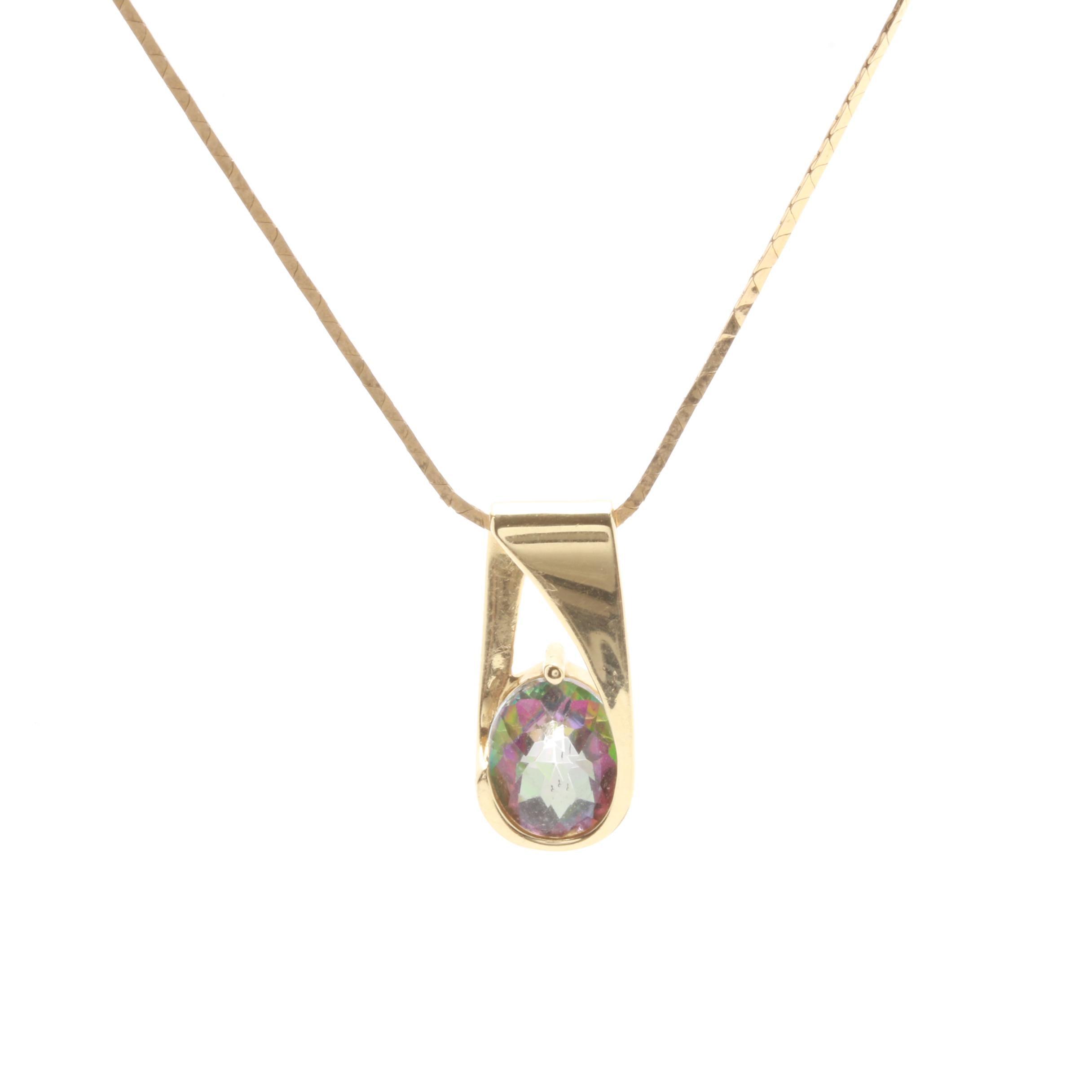 14K Yellow Gold Mystic Topaz Pendant Necklace