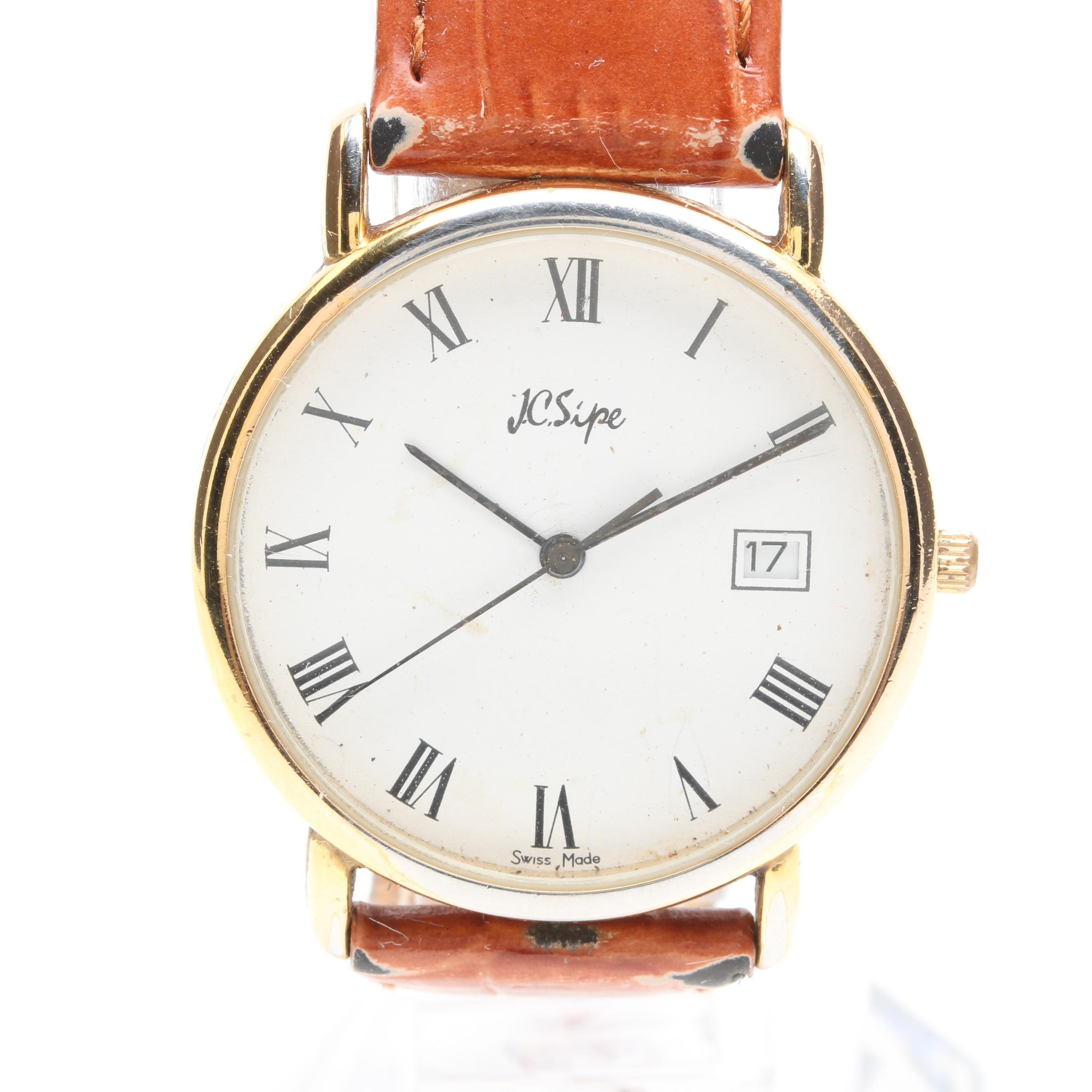 JC Sipe Stainless Steel and Leather Strap Wristwatch