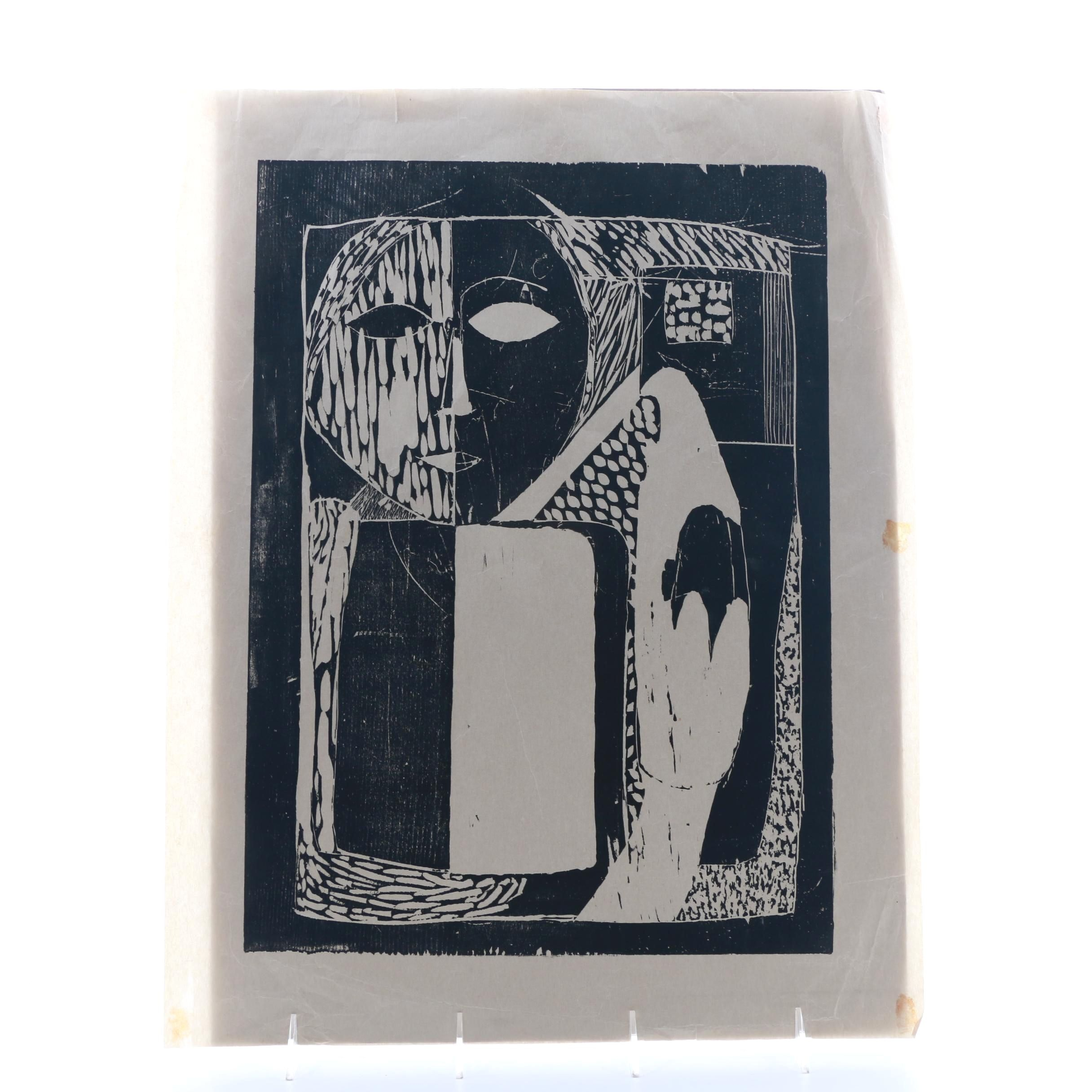 1960s Woodblock Print on Paper of Abstract Figure