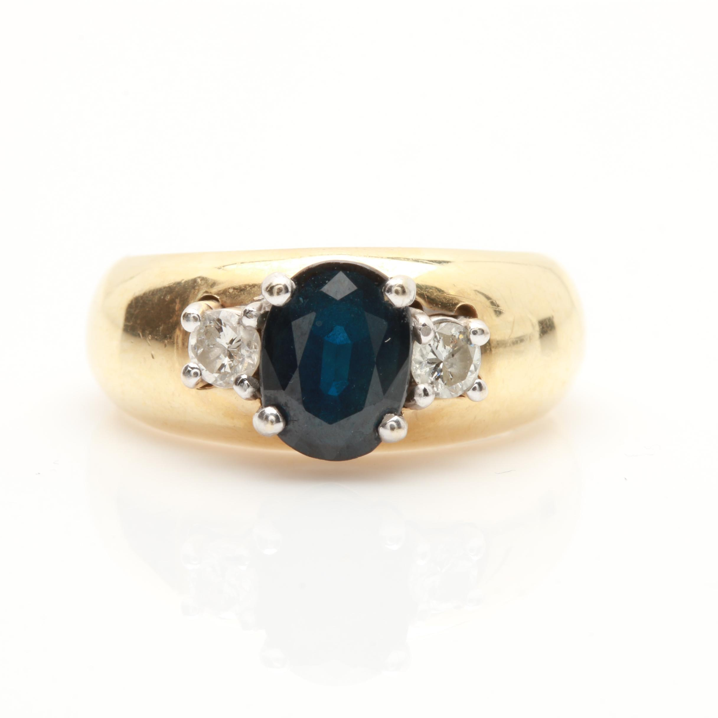 14K Yellow Gold 1.34 CT Sapphire and Diamond Ring with White Gold Accent