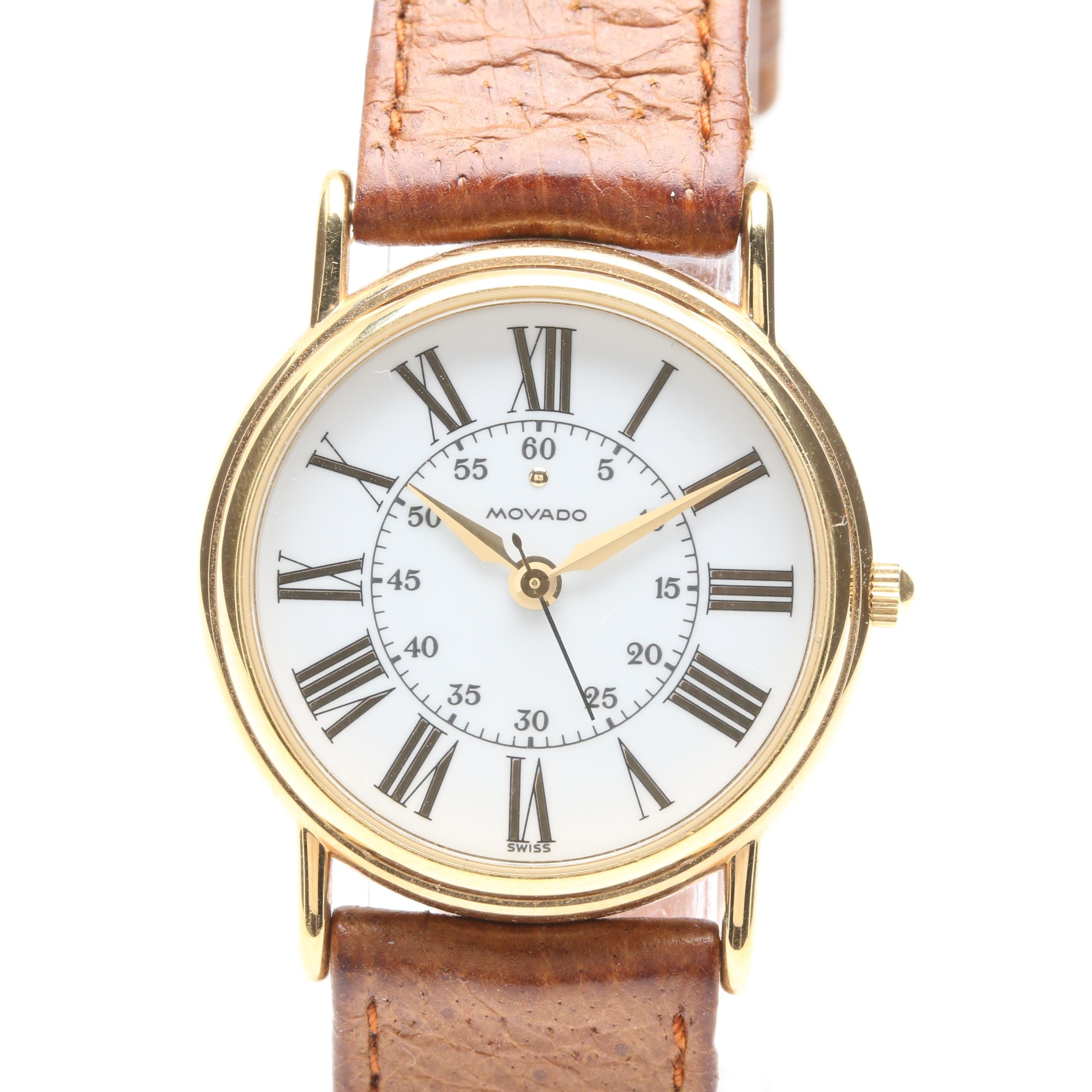 Movado Gold Tone and Stainless Steel Leather Strap Wristwatch