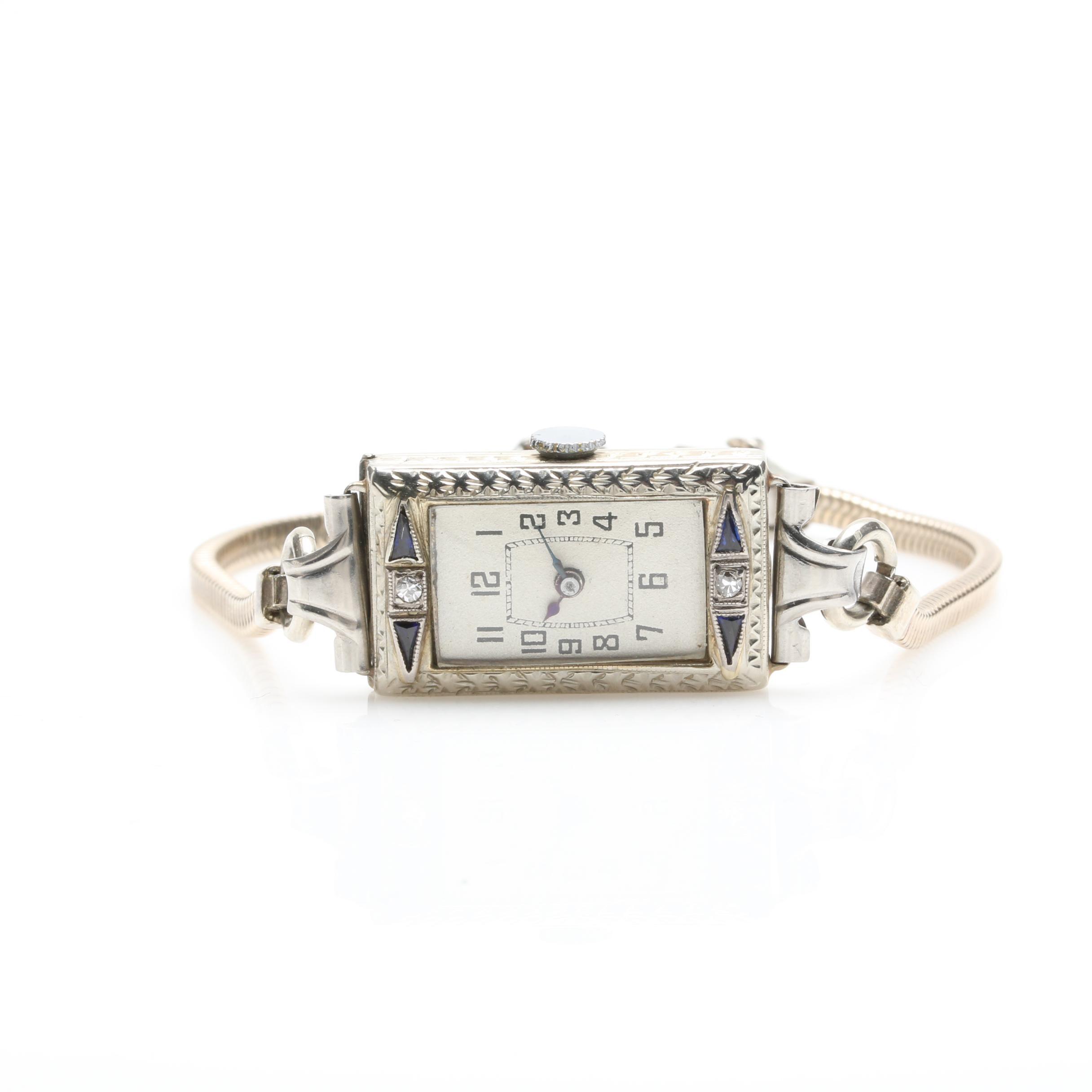 Belais 18K White Gold Diamond and Synthetic Blue Sapphire Wristwatch