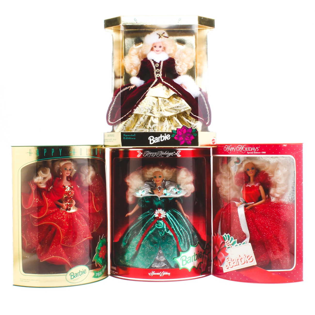 Group of Holiday Barbie Dolls