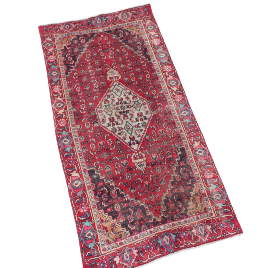 Persian Hand Knotted Kashan Silk And Wool Area Rug Ebth: Vintage Hand-Knotted Persian Goltuhg Bijar Area Rug : EBTH