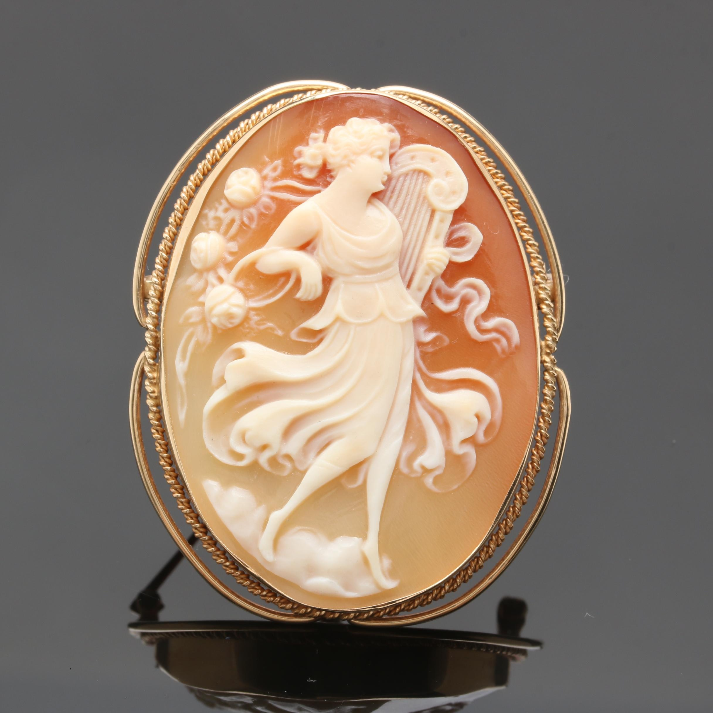 Circa 1950s 14K Yellow Gold Carved Helmet Shell Cameo Converter Brooch