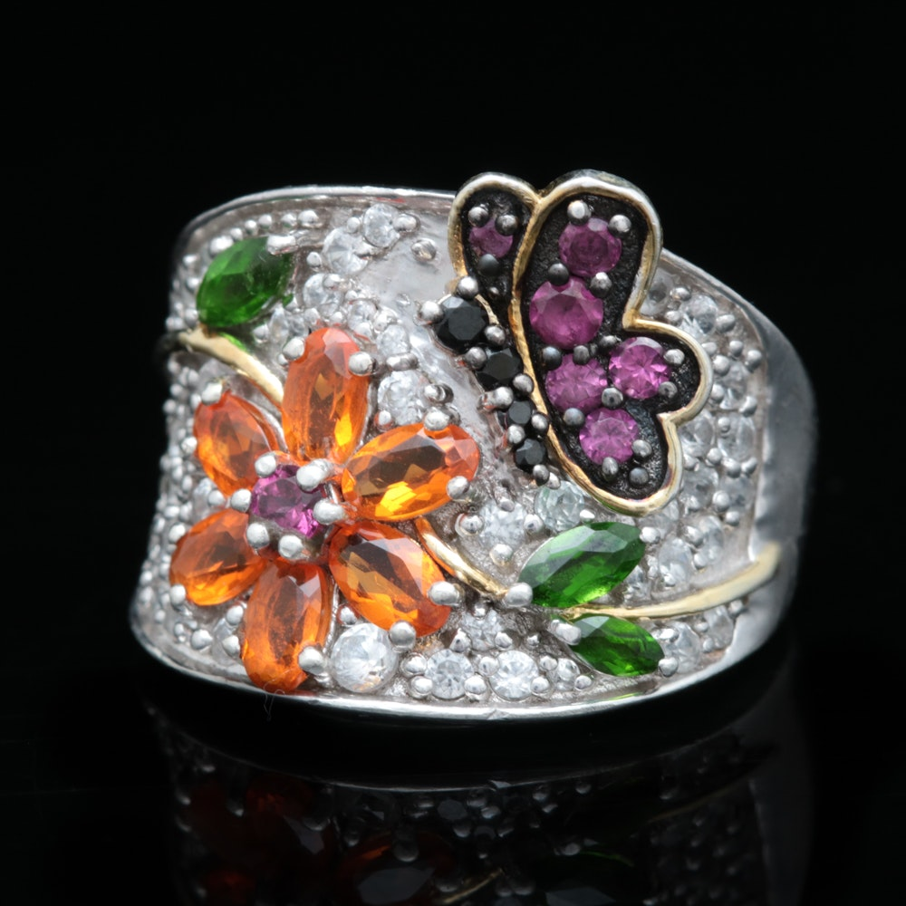 Sterling Silver and Multi-Gemstone Flower Ring